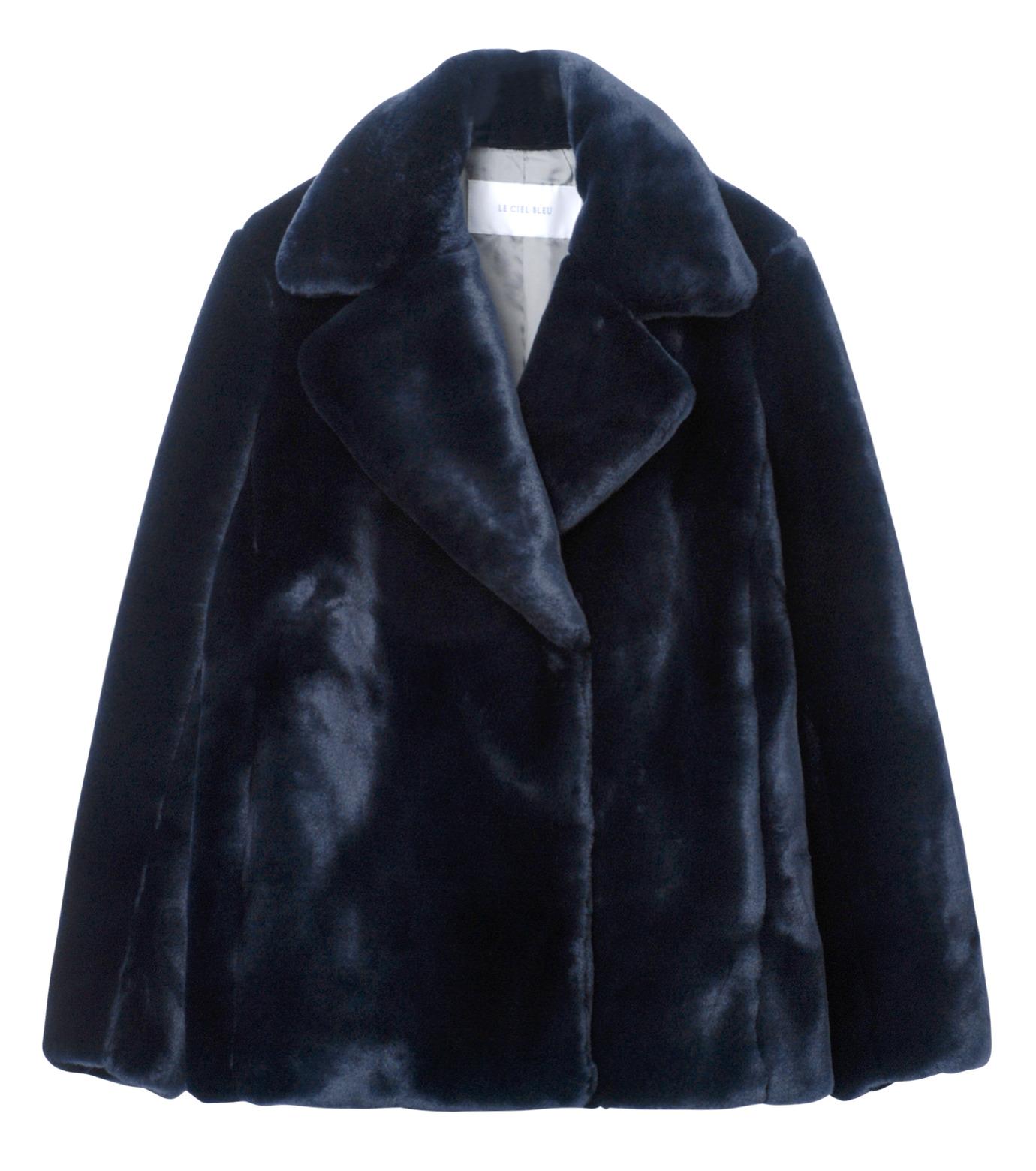 LE CIEL BLEU(ルシェルブルー)のフェイクファーPコート-NAVY(コート/coat)-17A69019 拡大詳細画像5