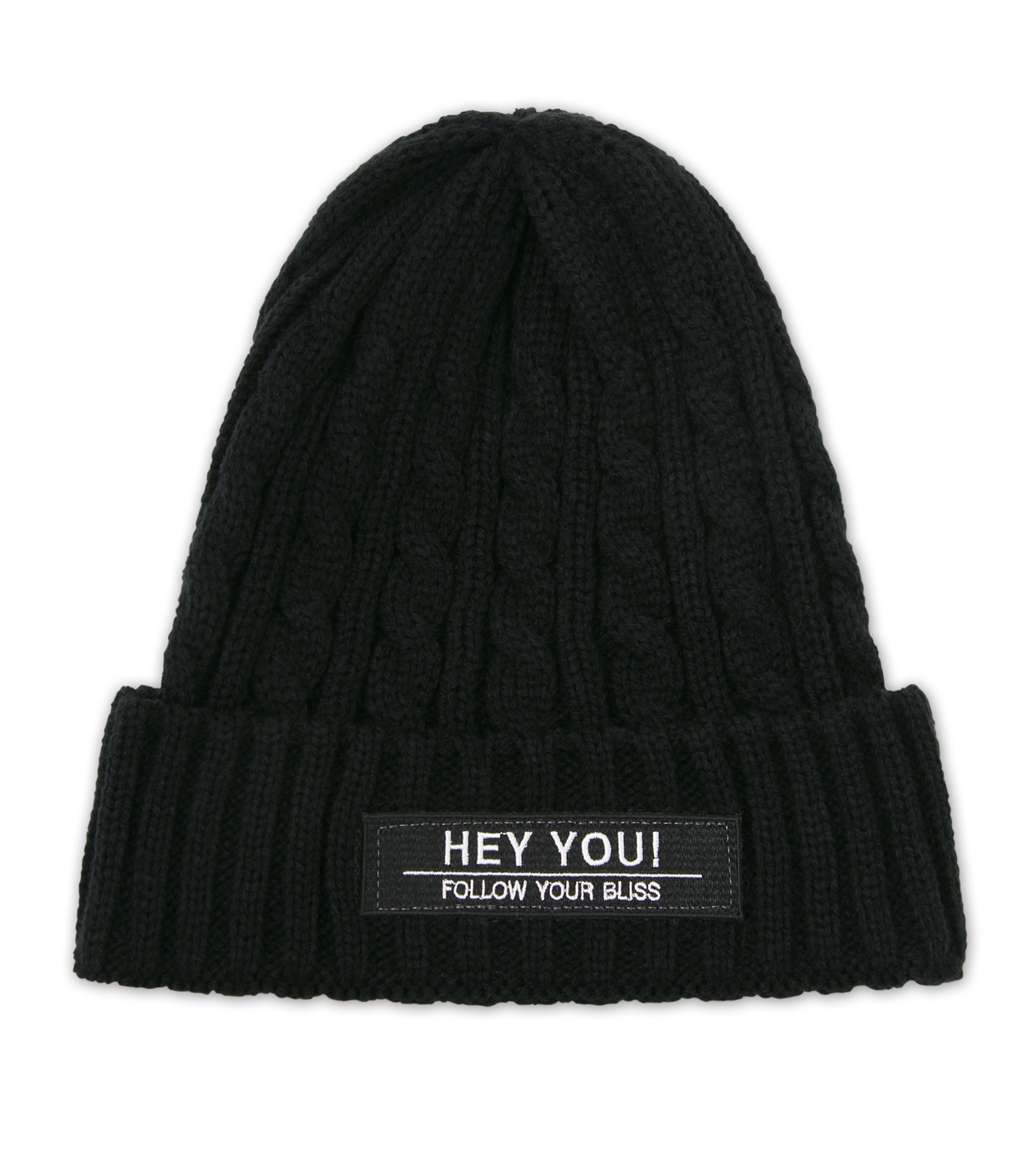 HEY YOU !(ヘイユウ)のCABLE KNIT CAP-BLACK(キャップ/cap)-17A90009-13 拡大詳細画像1