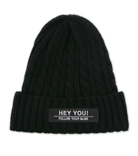 HEY YOU !(ヘイユウ)のCABLE KNIT CAP-BLACK(キャップ/cap)-17A90009-13 詳細画像1