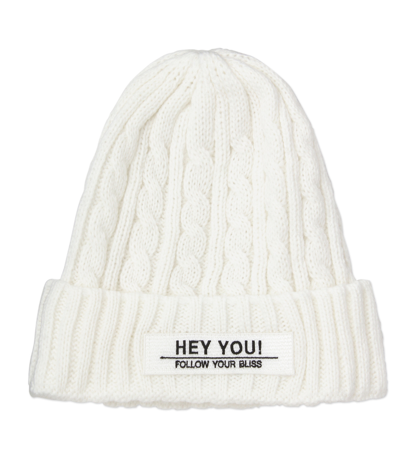 HEY YOU !(ヘイユウ)のCABLE KNIT CAP-WHITE(キャップ/cap)-17A90009-4 拡大詳細画像1