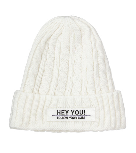 HEY YOU !(ヘイユウ)のCABLE KNIT CAP-WHITE(キャップ/cap)-17A90009-4 詳細画像1