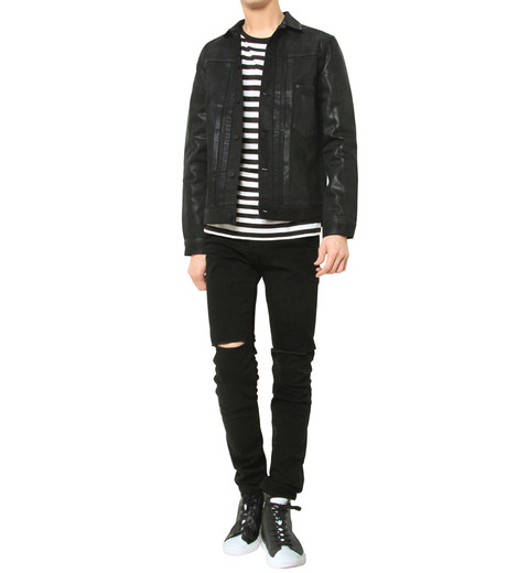 HL HEDDIE LOVU(エイチエル・エディールーヴ)のCOATING BLACK DENIM JACKET-BLACK(ジャケット/jacket)-17A94001-13 詳細画像7