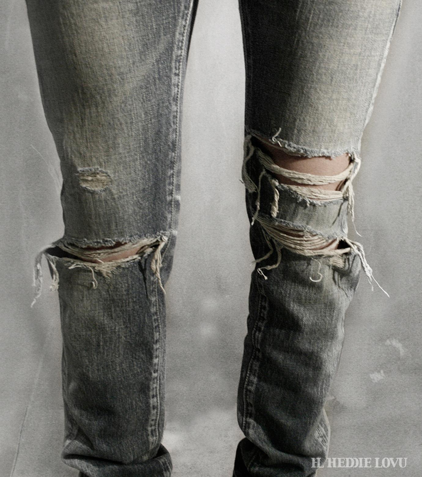 HL HEDDIE LOVU(エイチエル・エディールーヴ)のDamage Denim PT-BLUE(パンツ/pants)-17S98003-92 拡大詳細画像9