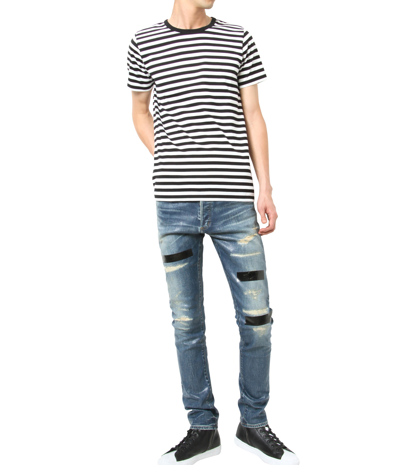 HL HEDDIE LOVU(エイチエル・エディールーヴ)のIndigo Coat Skin Slim-NAVY(パンツ/pants)-17S98005-93 拡大詳細画像3