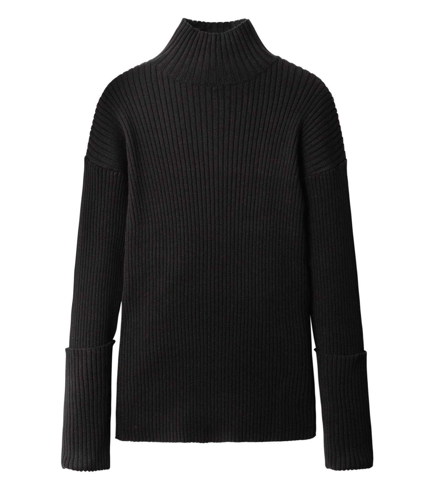 LE CIEL BLEU(ルシェルブルー)のドロップショルダーコットンニット-BLACK(ニット/knit)-18A61305 拡大詳細画像4