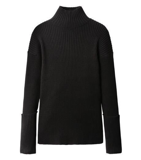LE CIEL BLEU(ルシェルブルー)のドロップショルダーコットンニット-BLACK(ニット/knit)-18A61305 詳細画像4