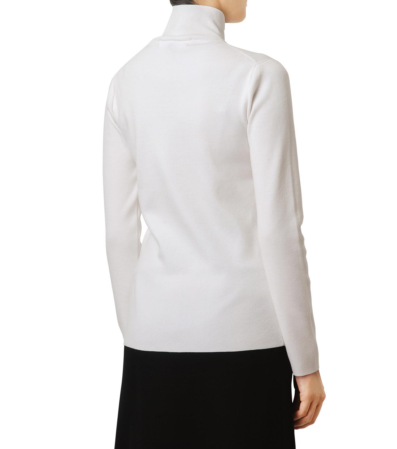 LE CIEL BLEU(ルシェルブルー)のジップタートルネックニットトップス-WHITE(ニット/knit)-18A61416 拡大詳細画像2