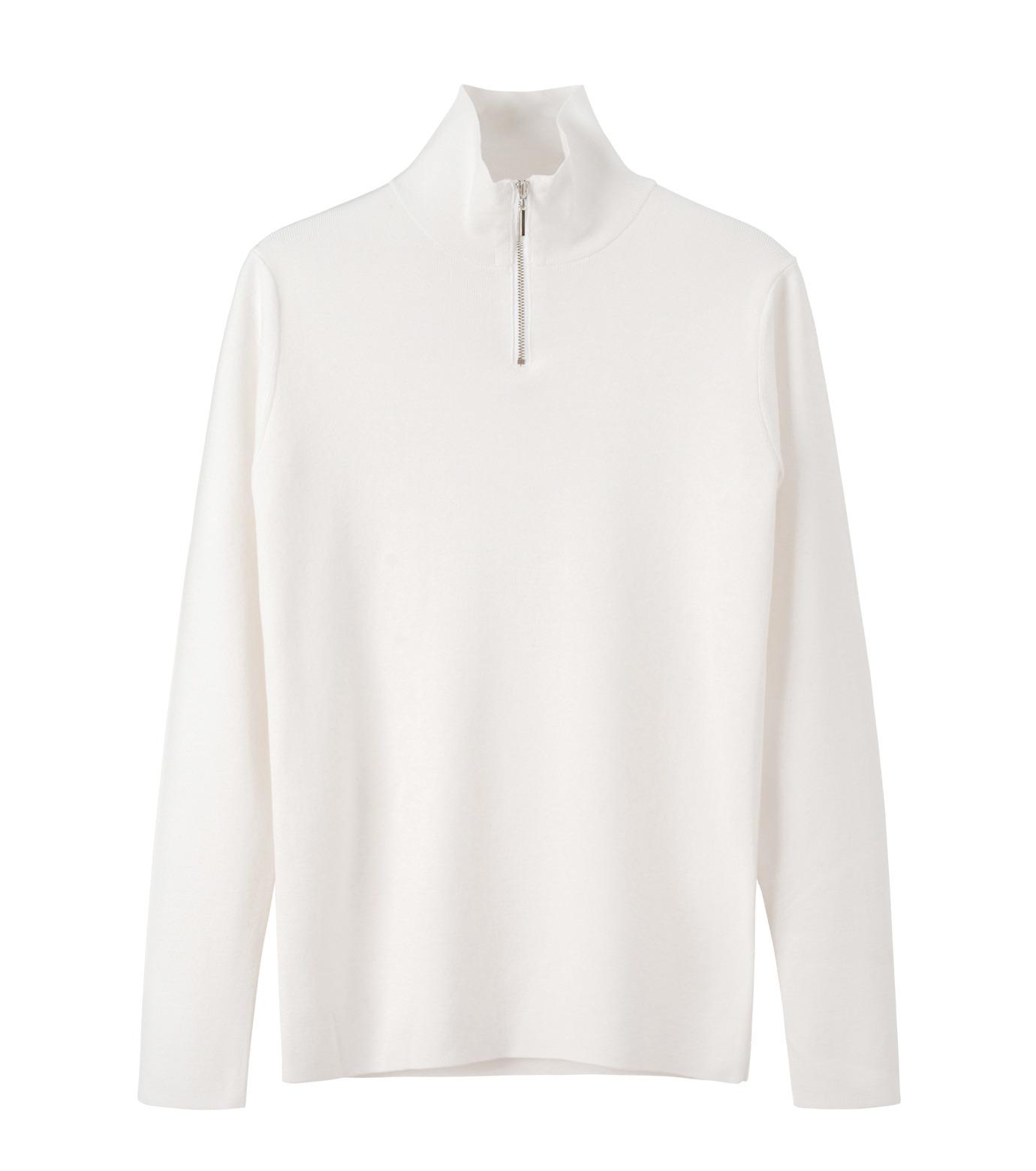 LE CIEL BLEU(ルシェルブルー)のジップタートルネックニットトップス-WHITE(ニット/knit)-18A61416 拡大詳細画像4