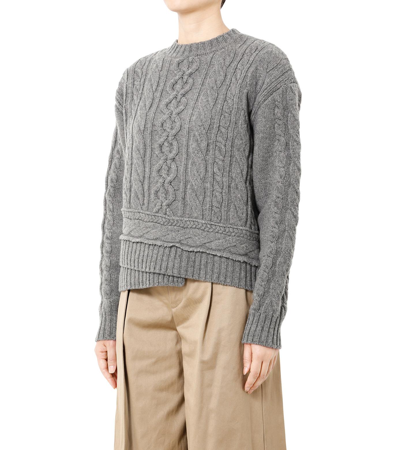 LE CIEL BLEU(ルシェルブルー)のケーブルニットトップス-GRAY(ニット/knit)-18A61524 拡大詳細画像1
