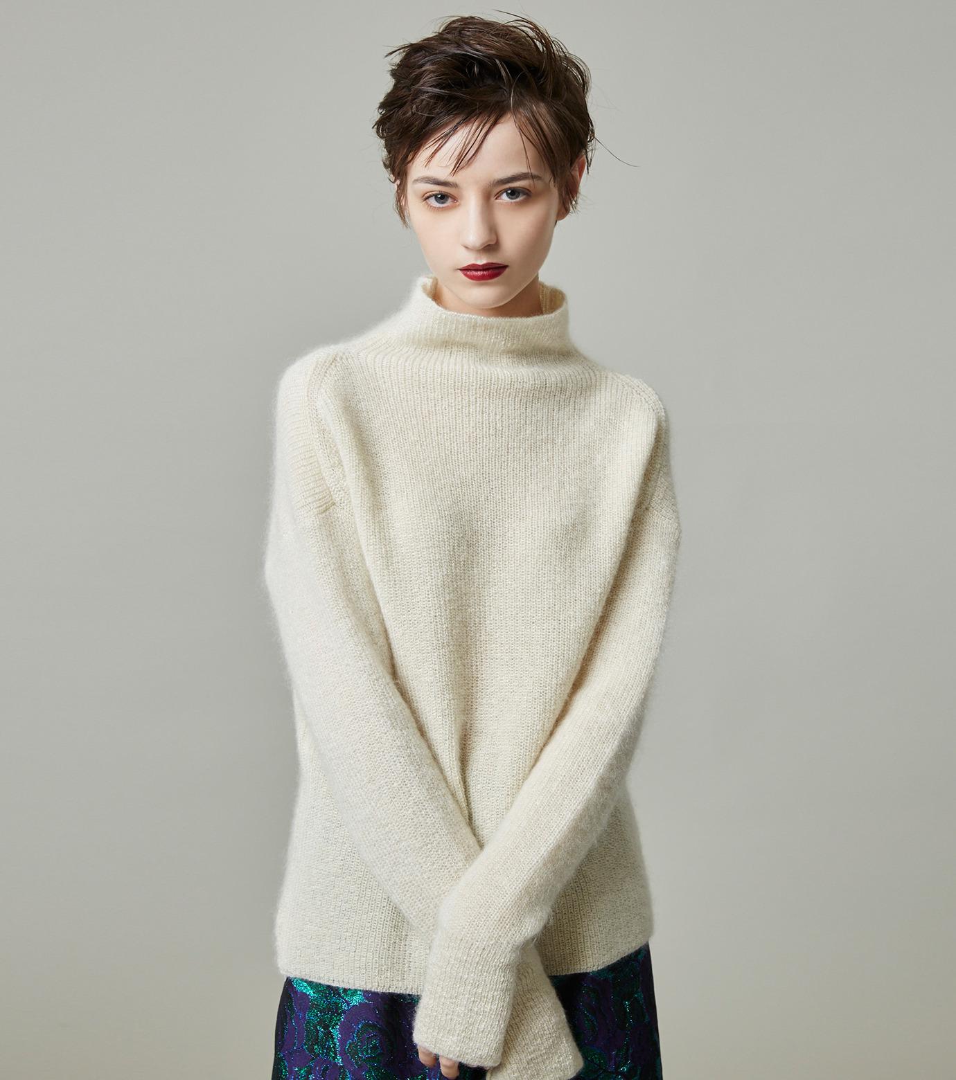 LE CIEL BLEU(ルシェルブルー)のシルクモヘヤニットトップス-WHITE(ニット/knit)-18A61528 拡大詳細画像4