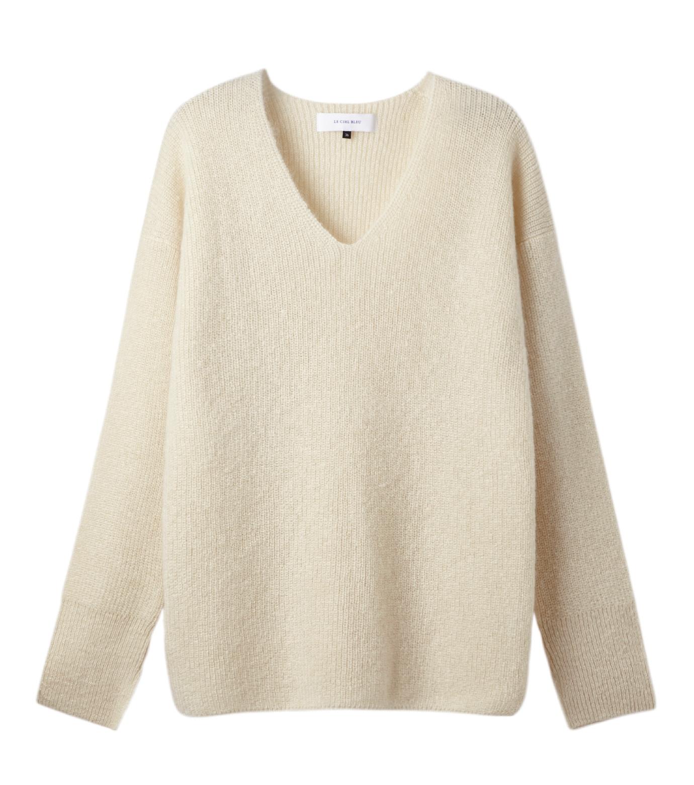 LE CIEL BLEU(ルシェルブルー)のシルクモヘヤ Vネックニット-WHITE(ニット/knit)-18A61529 拡大詳細画像4