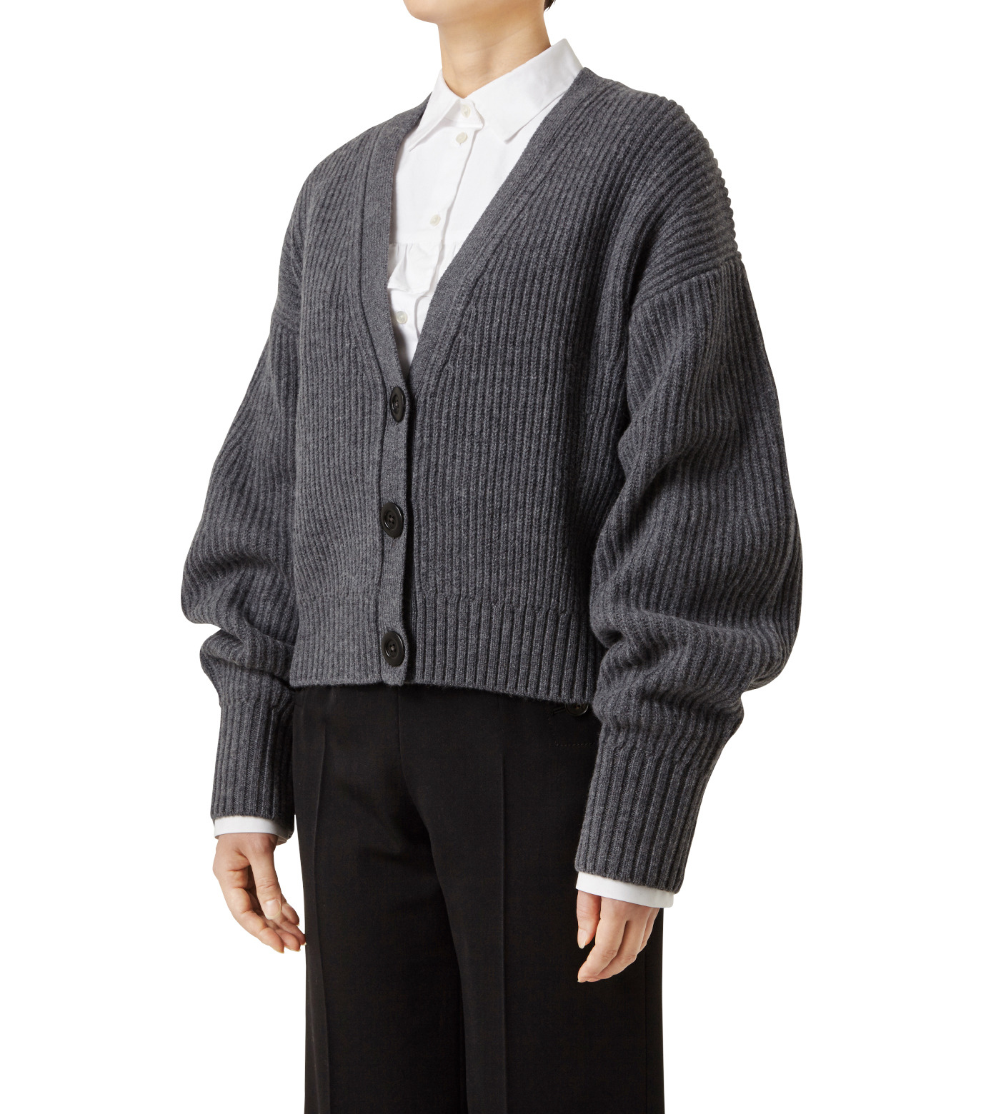 LE CIEL BLEU(ルシェルブルー)のショートカーディガン-GRAY(ニット/knit)-18A61633 拡大詳細画像1