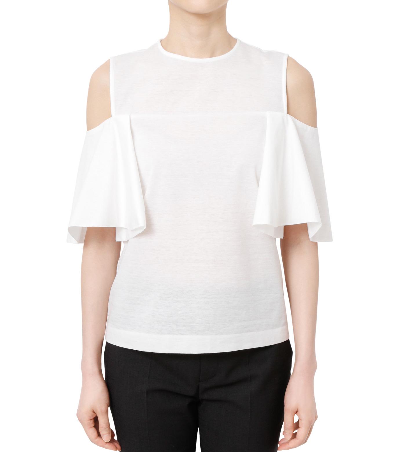 LE CIEL BLEU(ルシェルブルー)のショルダーレスラッフルトップス-WHITE(カットソー/cut and sewn)-18A62002 拡大詳細画像1