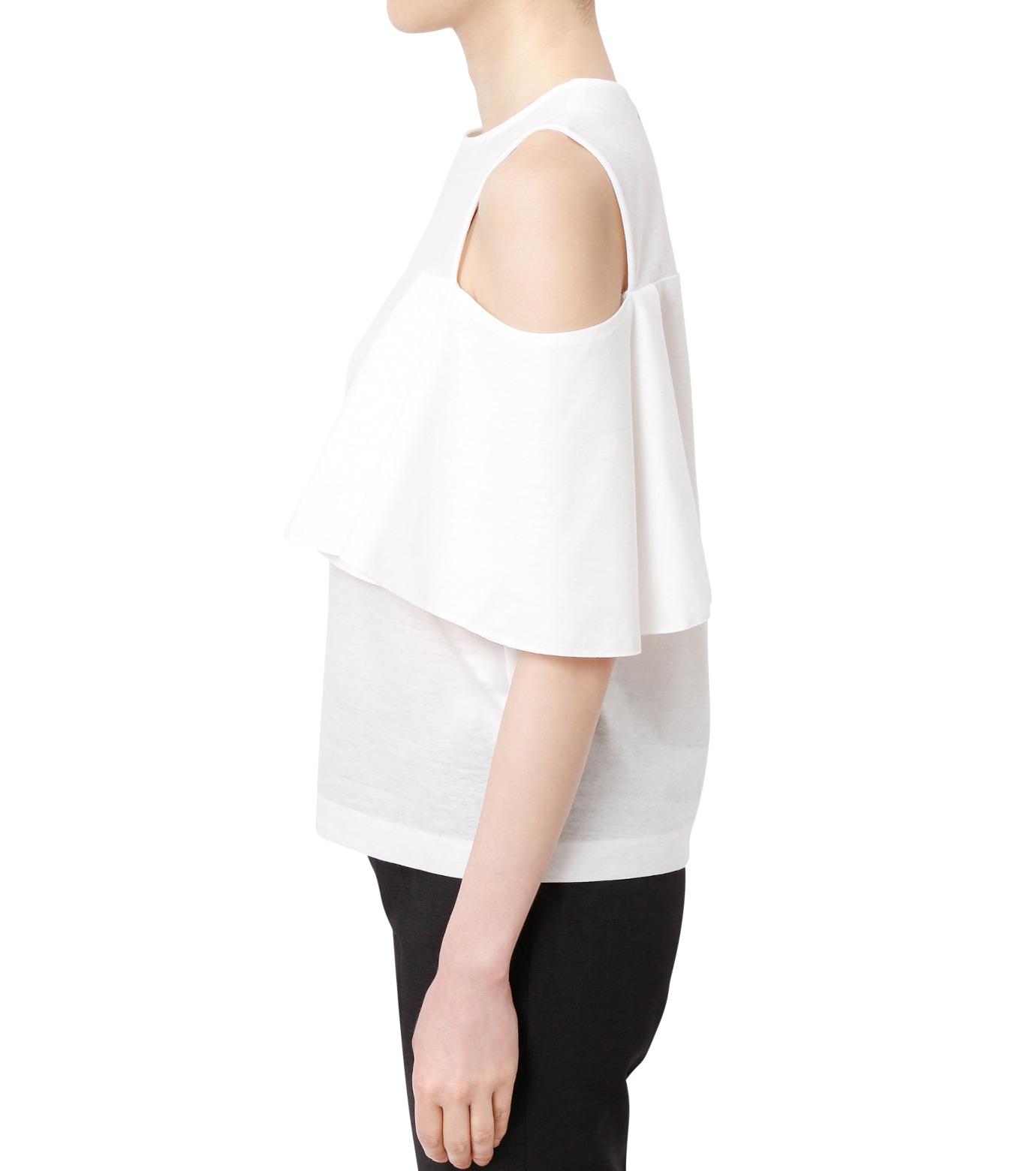 LE CIEL BLEU(ルシェルブルー)のショルダーレスラッフルトップス-WHITE(カットソー/cut and sewn)-18A62002 拡大詳細画像2