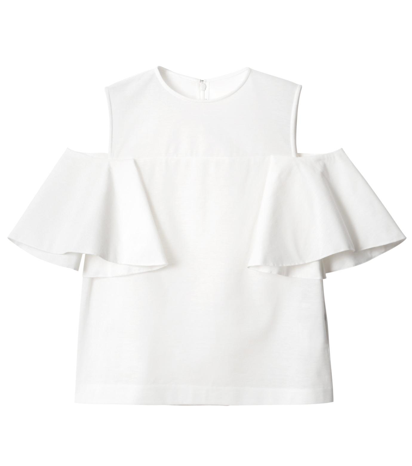 LE CIEL BLEU(ルシェルブルー)のショルダーレスラッフルトップス-WHITE(カットソー/cut and sewn)-18A62002 拡大詳細画像5