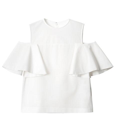 LE CIEL BLEU(ルシェルブルー)のショルダーレスラッフルトップス-WHITE(カットソー/cut and sewn)-18A62002 詳細画像5