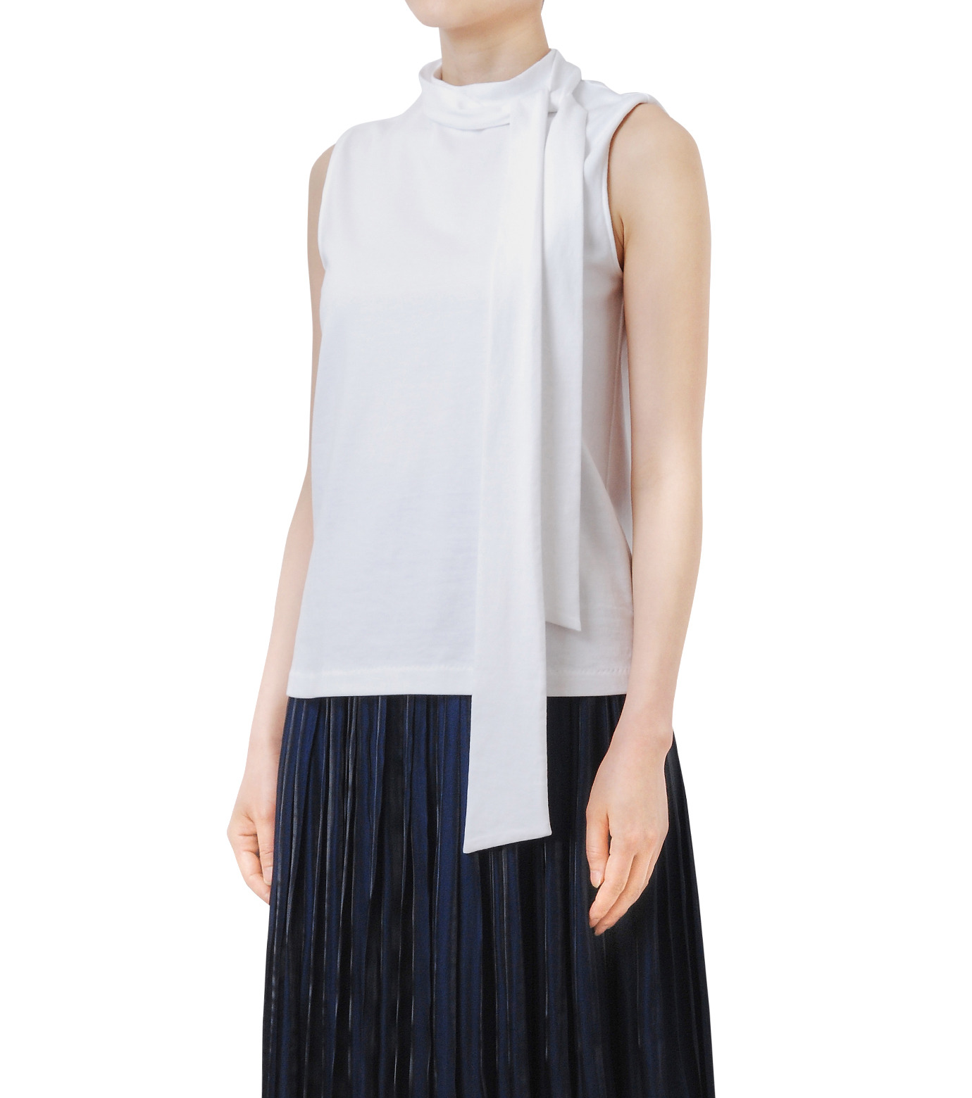 LE CIEL BLEU(ルシェルブルー)のロングボウタンクトップ-WHITE(カットソー/cut and sewn)-18A62206 拡大詳細画像1