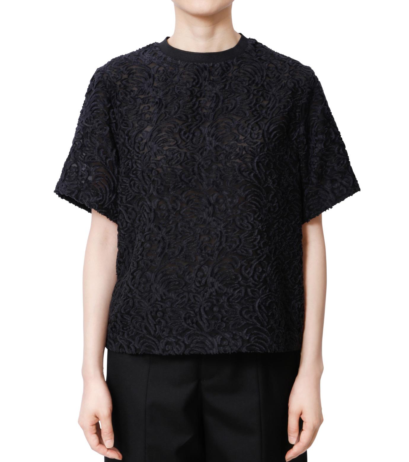 LE CIEL BLEU(ルシェルブルー)のカットジャガードトップス-BLACK(シャツ/shirt)-18A63001 拡大詳細画像1