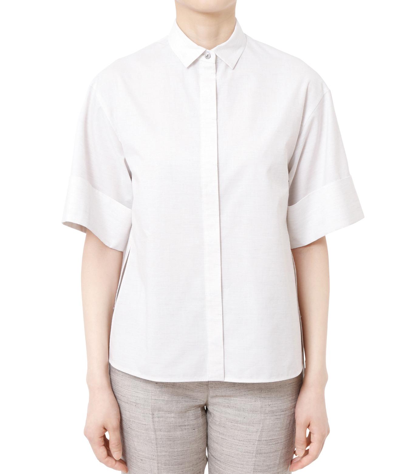 LE CIEL BLEU(ルシェルブルー)のAラインボードシャツ-WHITE(シャツ/shirt)-18A63004 拡大詳細画像1