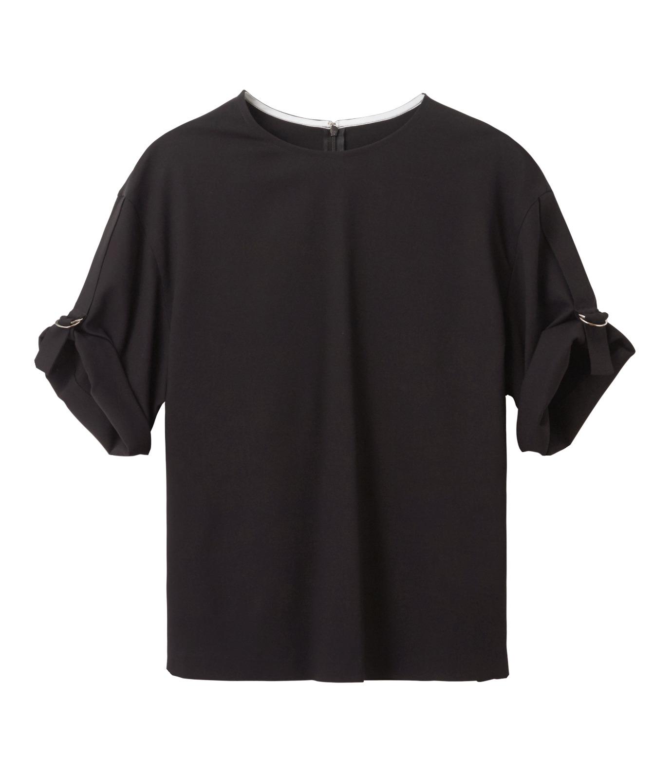 LE CIEL BLEU(ルシェルブルー)のテープモチーフジョーゼットトップス-BLACK(シャツ/shirt)-18A63209 拡大詳細画像4