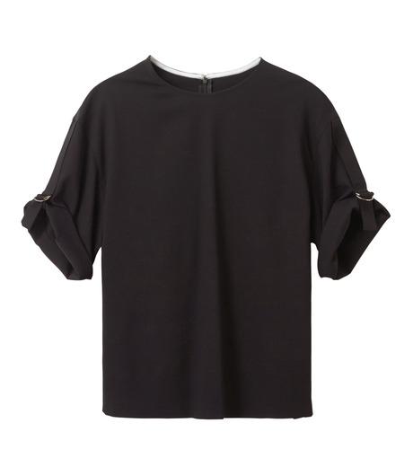 LE CIEL BLEU(ルシェルブルー)のテープモチーフジョーゼットトップス-BLACK(シャツ/shirt)-18A63209 詳細画像4