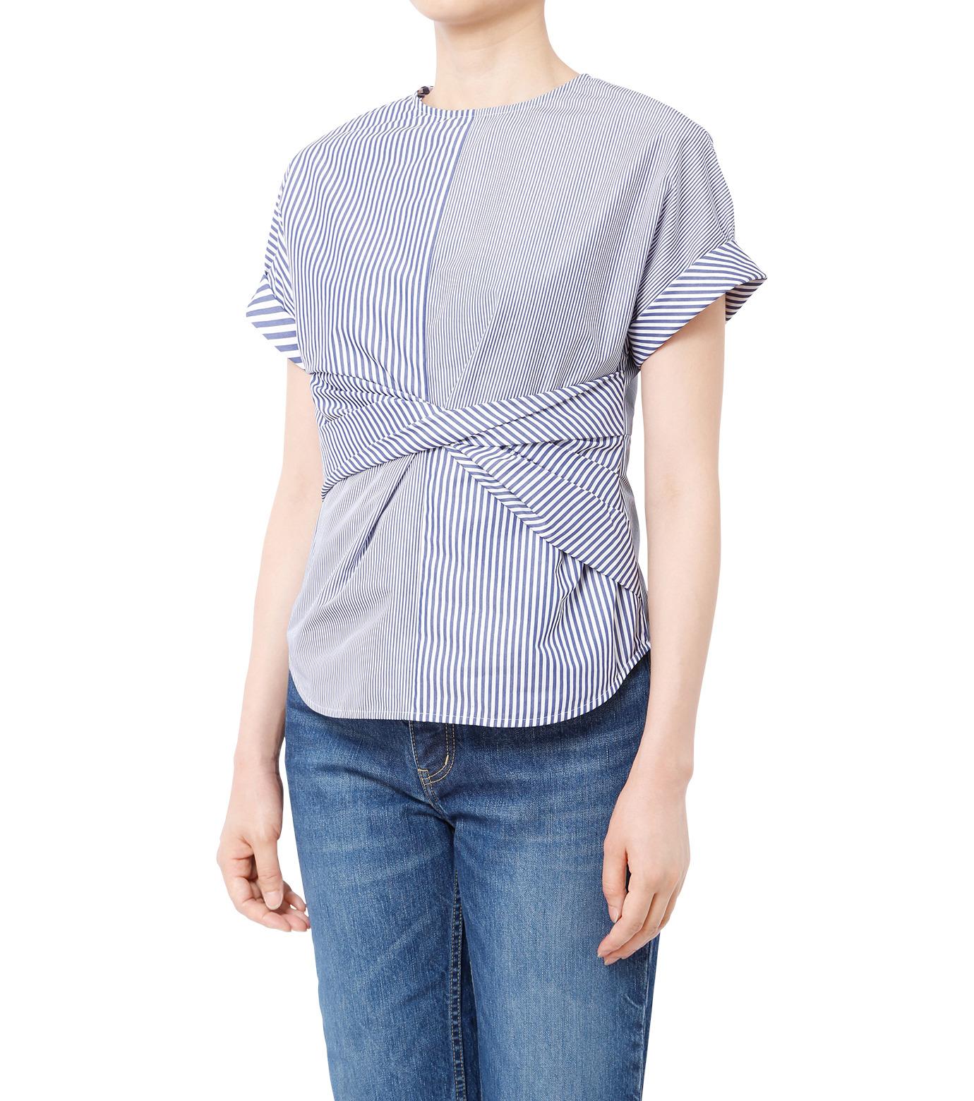 LE CIEL BLEU(ルシェルブルー)のストライプツイストトップス-MULTI COLOUR(シャツ/shirt)-18A63313 拡大詳細画像1