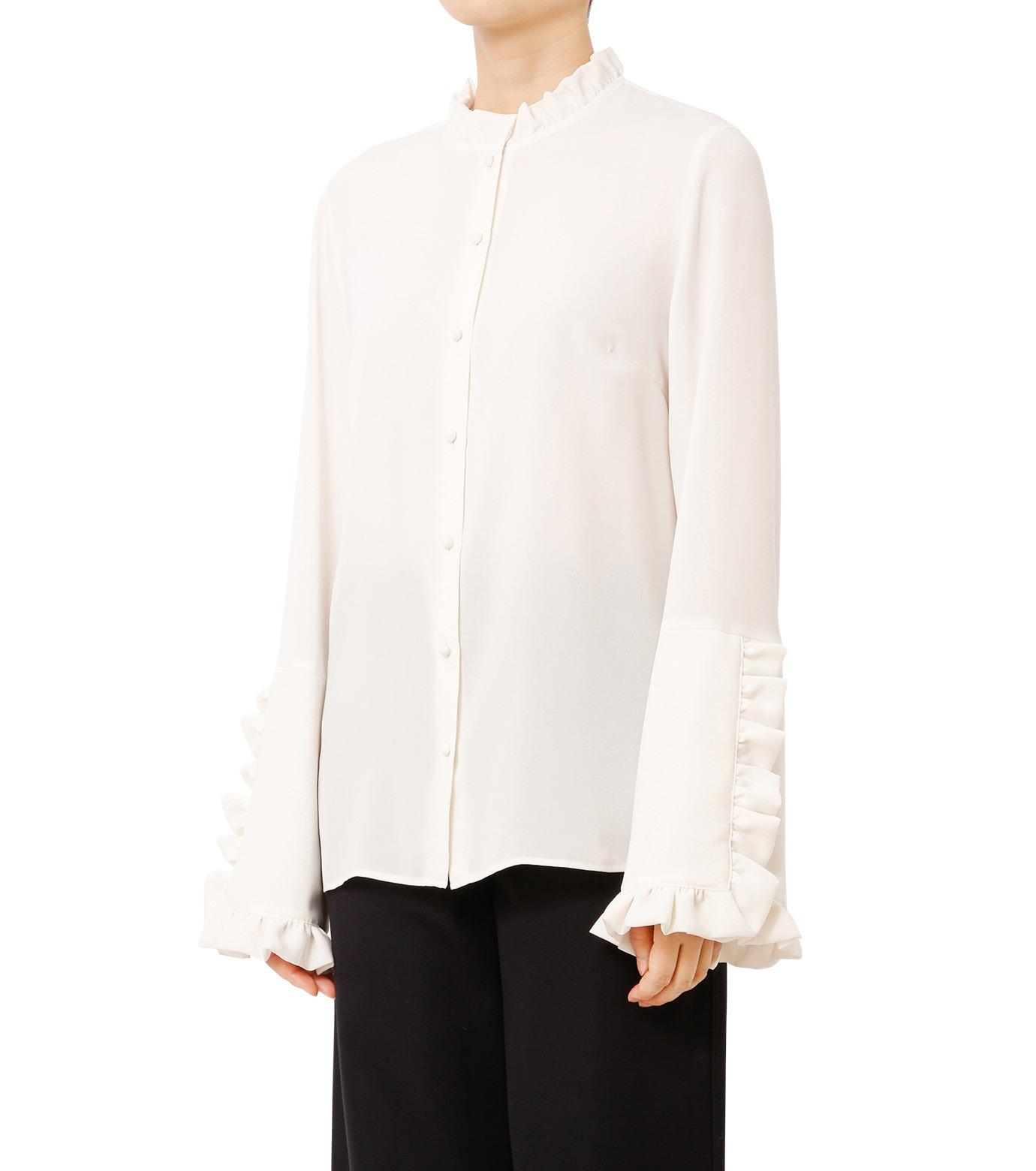 LE CIEL BLEU(ルシェルブルー)のフリルブラウス-WHITE(シャツ/shirt)-18A63416 拡大詳細画像1