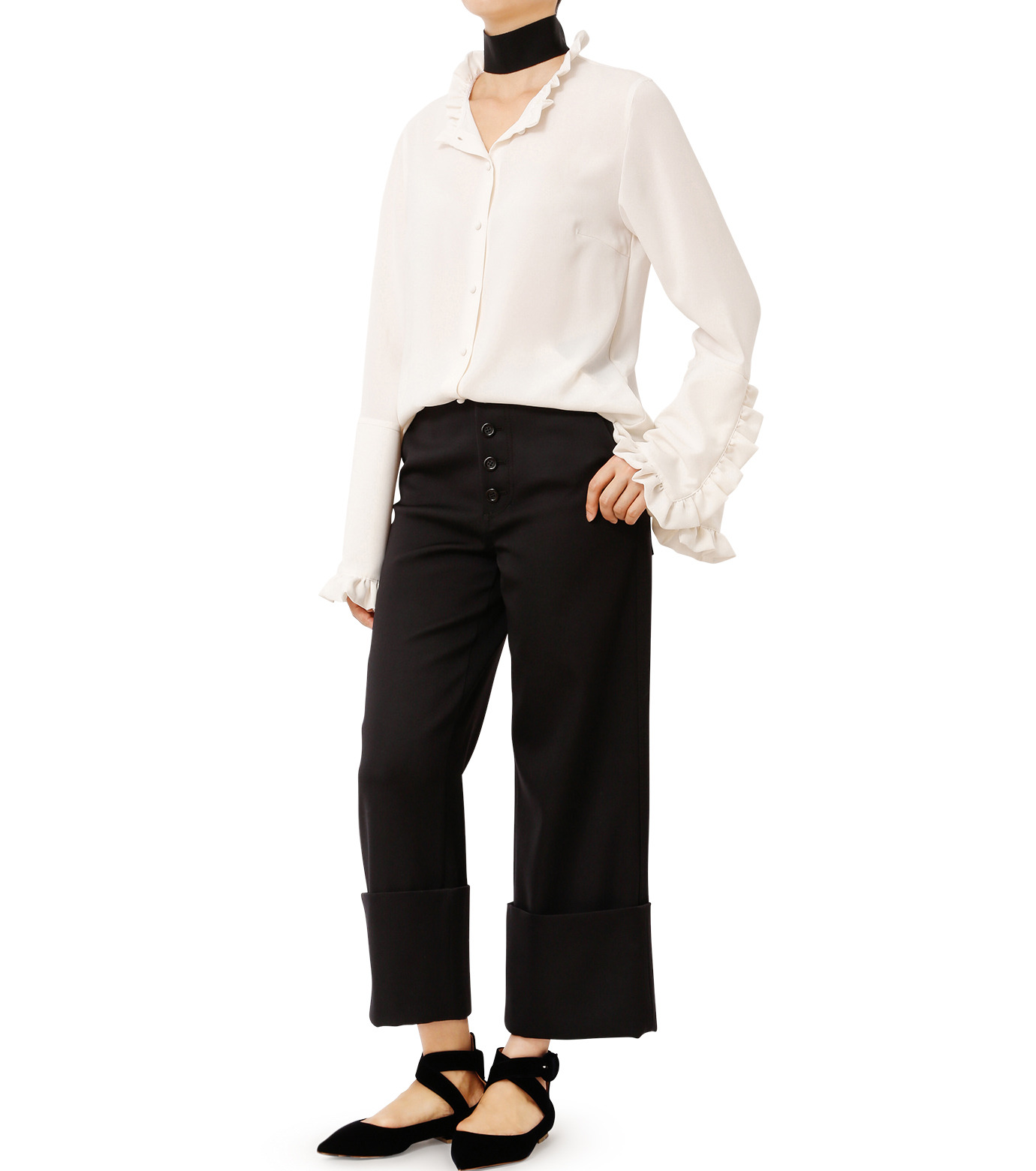 LE CIEL BLEU(ルシェルブルー)のフリルブラウス-WHITE(シャツ/shirt)-18A63416 拡大詳細画像3