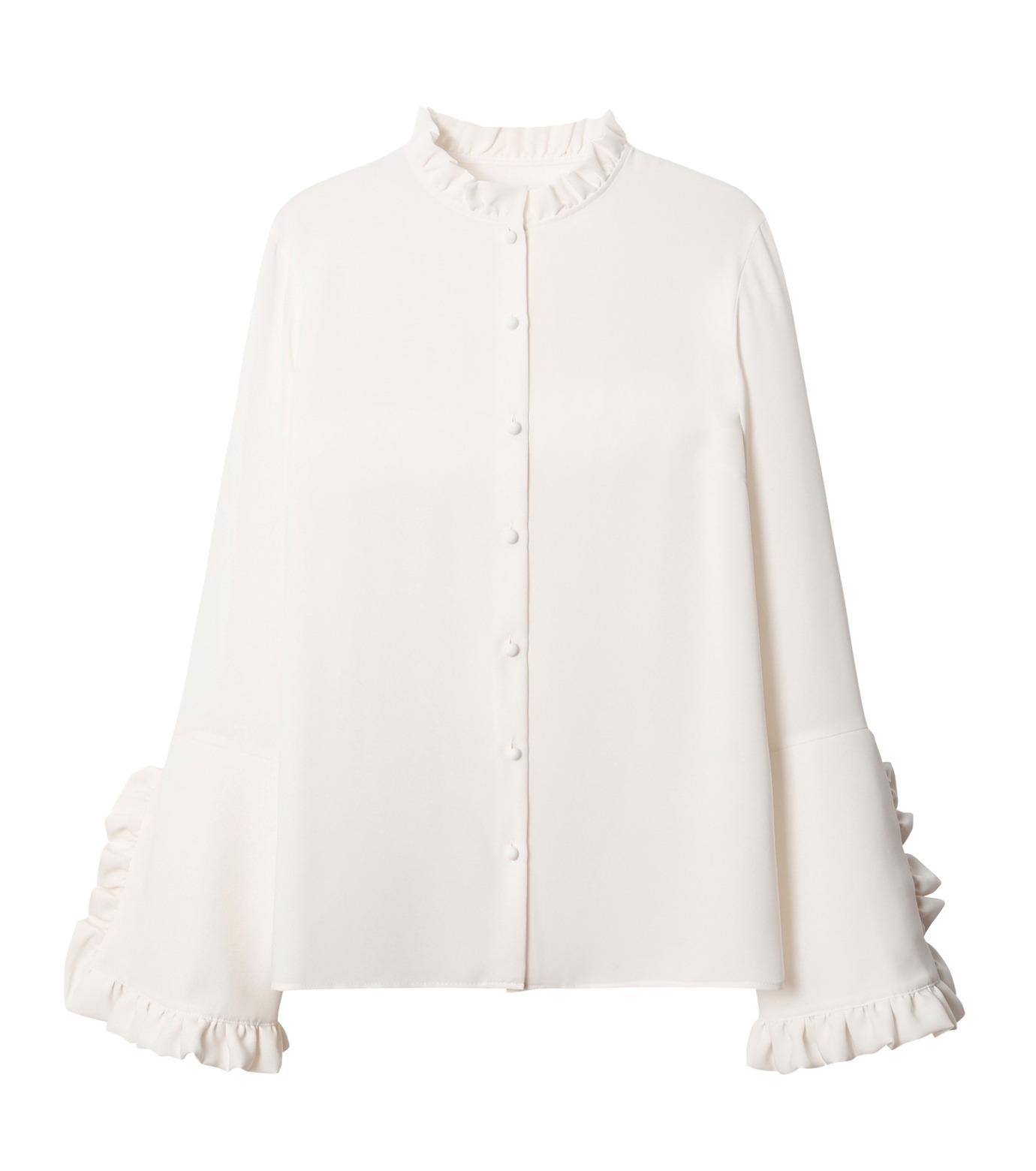 LE CIEL BLEU(ルシェルブルー)のフリルブラウス-WHITE(シャツ/shirt)-18A63416 拡大詳細画像4