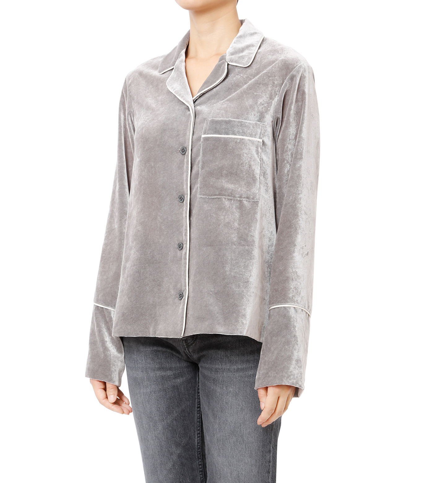 LE CIEL BLEU(ルシェルブルー)のルーズベルベットシャツ-GRAY(シャツ/shirt)-18A63417 拡大詳細画像1