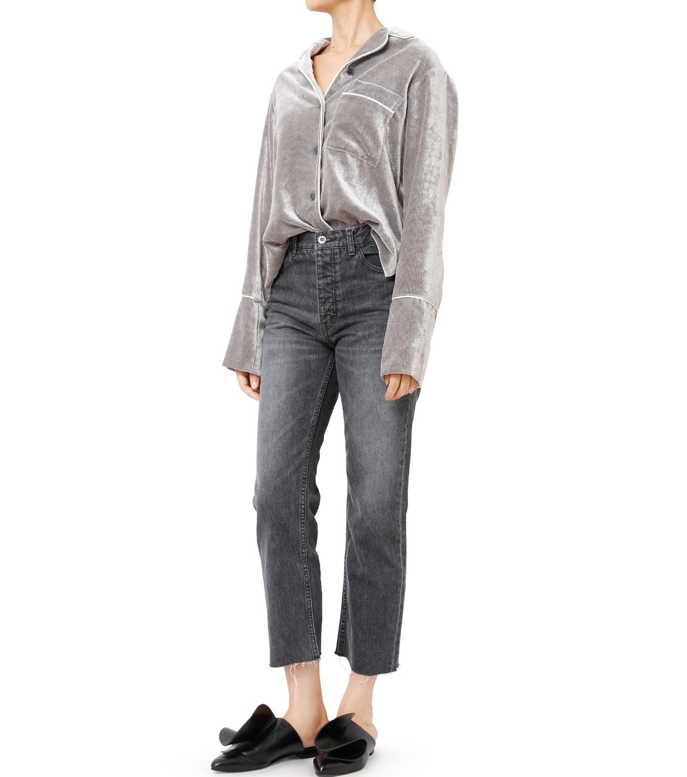 LE CIEL BLEU(ルシェルブルー)のルーズベルベットシャツ-GRAY(シャツ/shirt)-18A63417 拡大詳細画像3