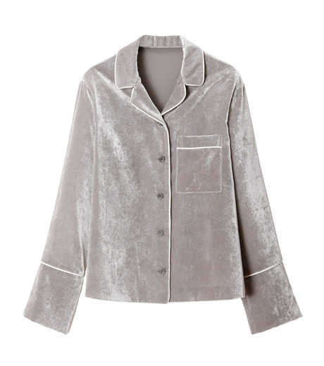 LE CIEL BLEU(ルシェルブルー)のルーズベルベットシャツ-GRAY(シャツ/shirt)-18A63417 詳細画像4
