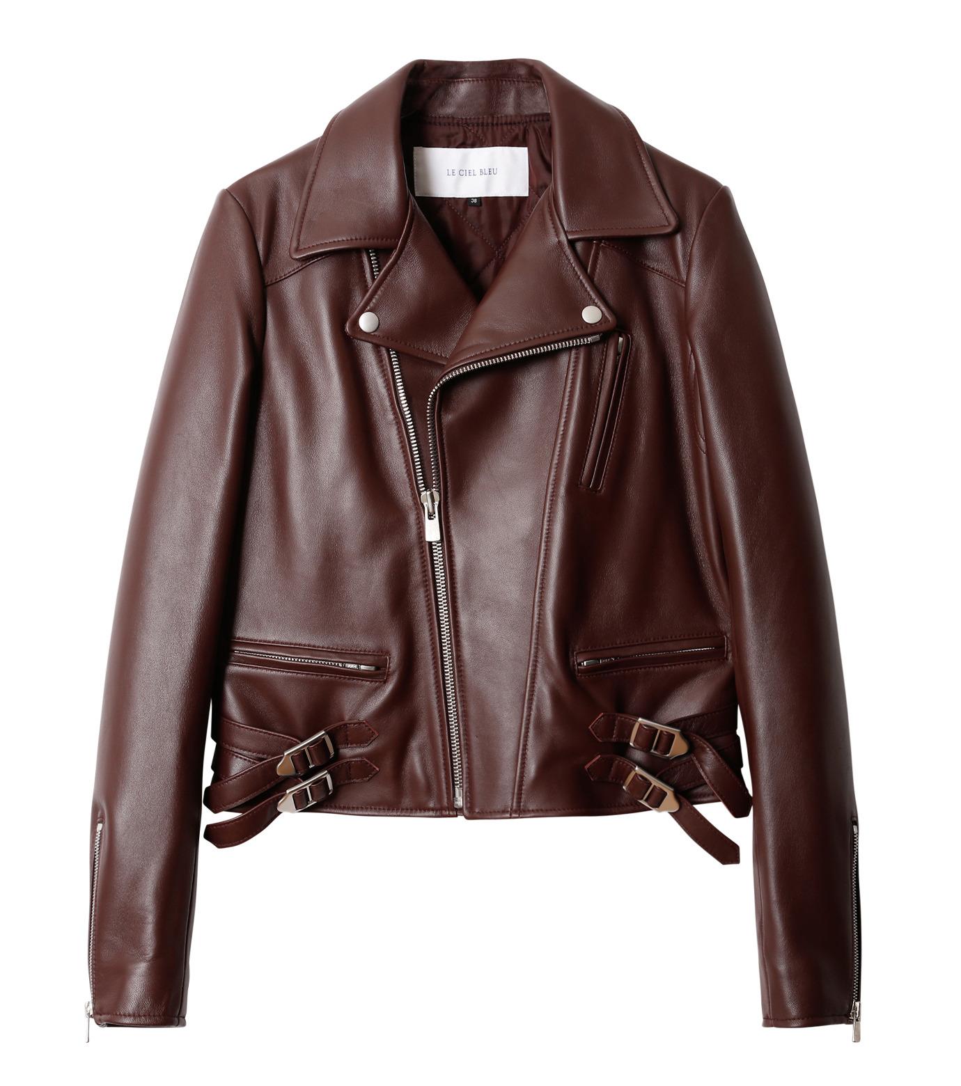 LE CIEL BLEU(ルシェルブルー)のラムレザーライダース-BORDEAUX(ジャケット/jacket)-18A64002 拡大詳細画像4