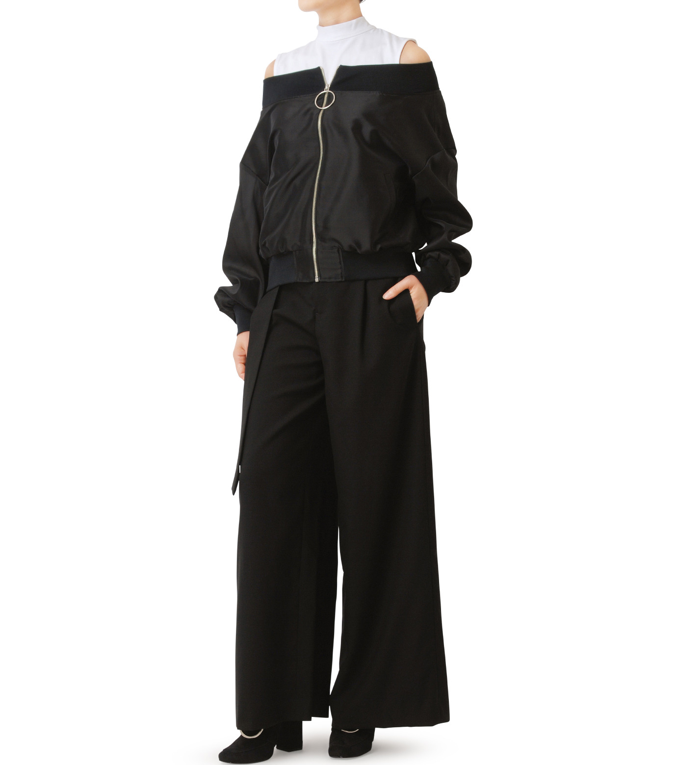 LE CIEL BLEU(ルシェルブルー)のシアーオフショルダーブルゾン-BLACK(ジャケット/jacket)-18A64003 拡大詳細画像3