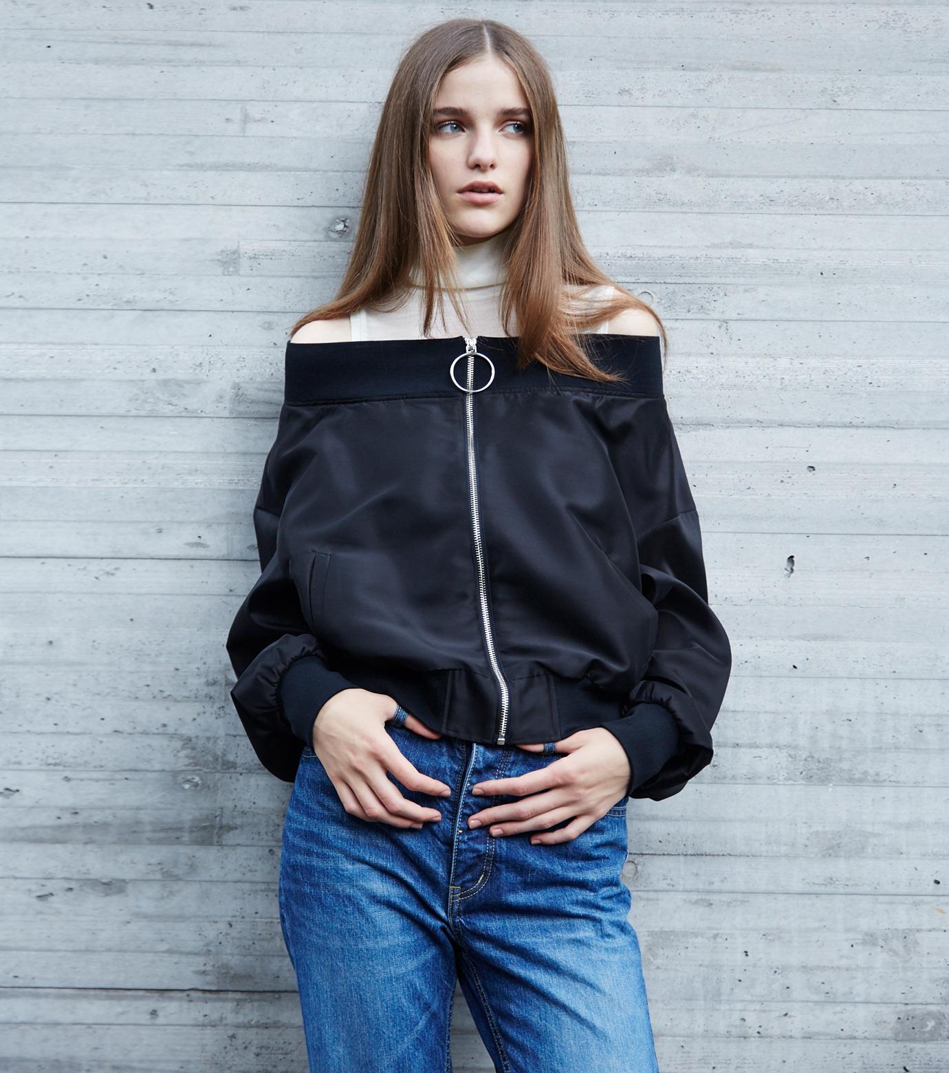 LE CIEL BLEU(ルシェルブルー)のシアーオフショルダーブルゾン-BLACK(ジャケット/jacket)-18A64003 拡大詳細画像4