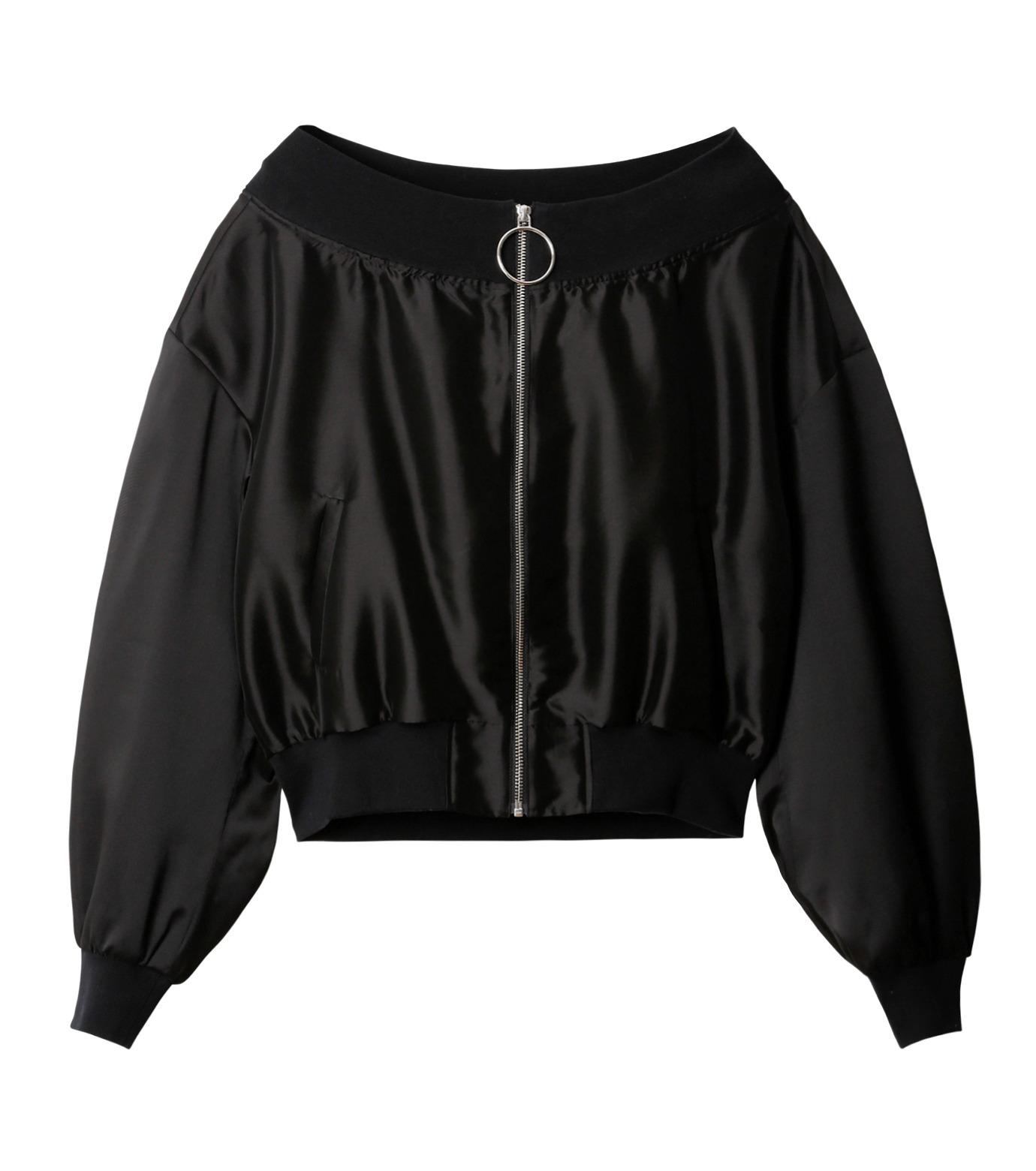 LE CIEL BLEU(ルシェルブルー)のシアーオフショルダーブルゾン-BLACK(ジャケット/jacket)-18A64003 拡大詳細画像5