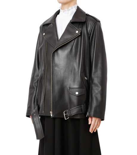 LE CIEL BLEU(ルシェルブルー)のレザーライダースジャケット-BLACK(ジャケット/jacket)-18A64004 詳細画像1