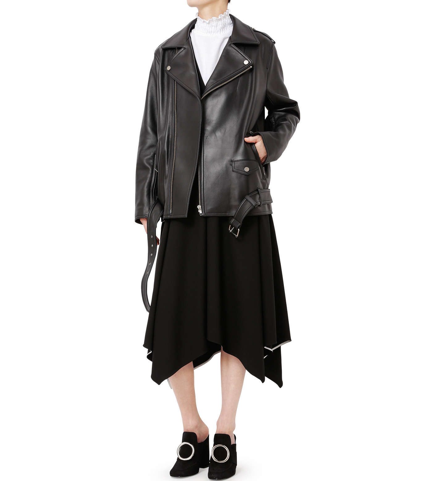 LE CIEL BLEU(ルシェルブルー)のレザーライダースジャケット-BLACK(ジャケット/jacket)-18A64004 拡大詳細画像3