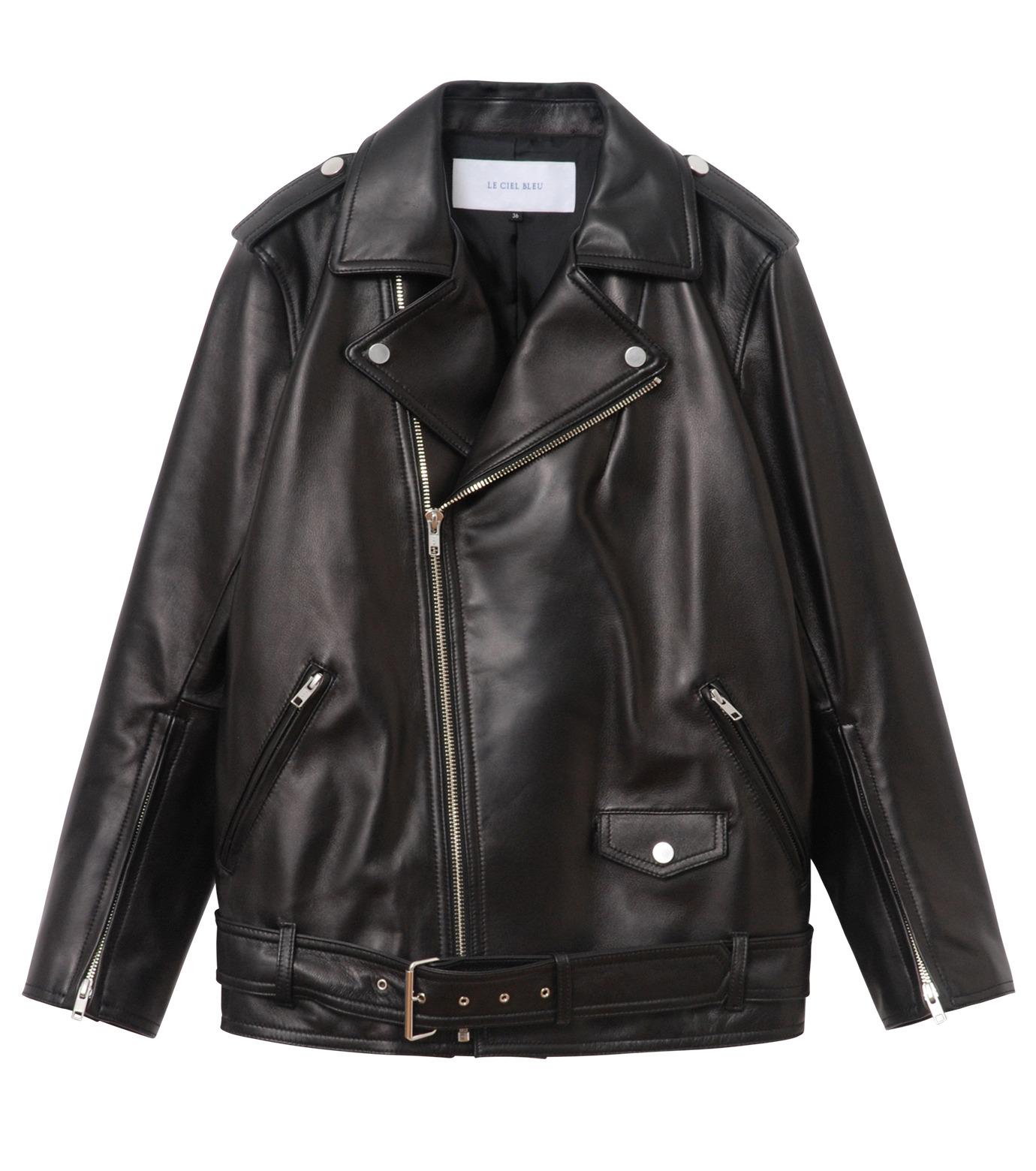 LE CIEL BLEU(ルシェルブルー)のレザーライダースジャケット-BLACK(ジャケット/jacket)-18A64004 拡大詳細画像4