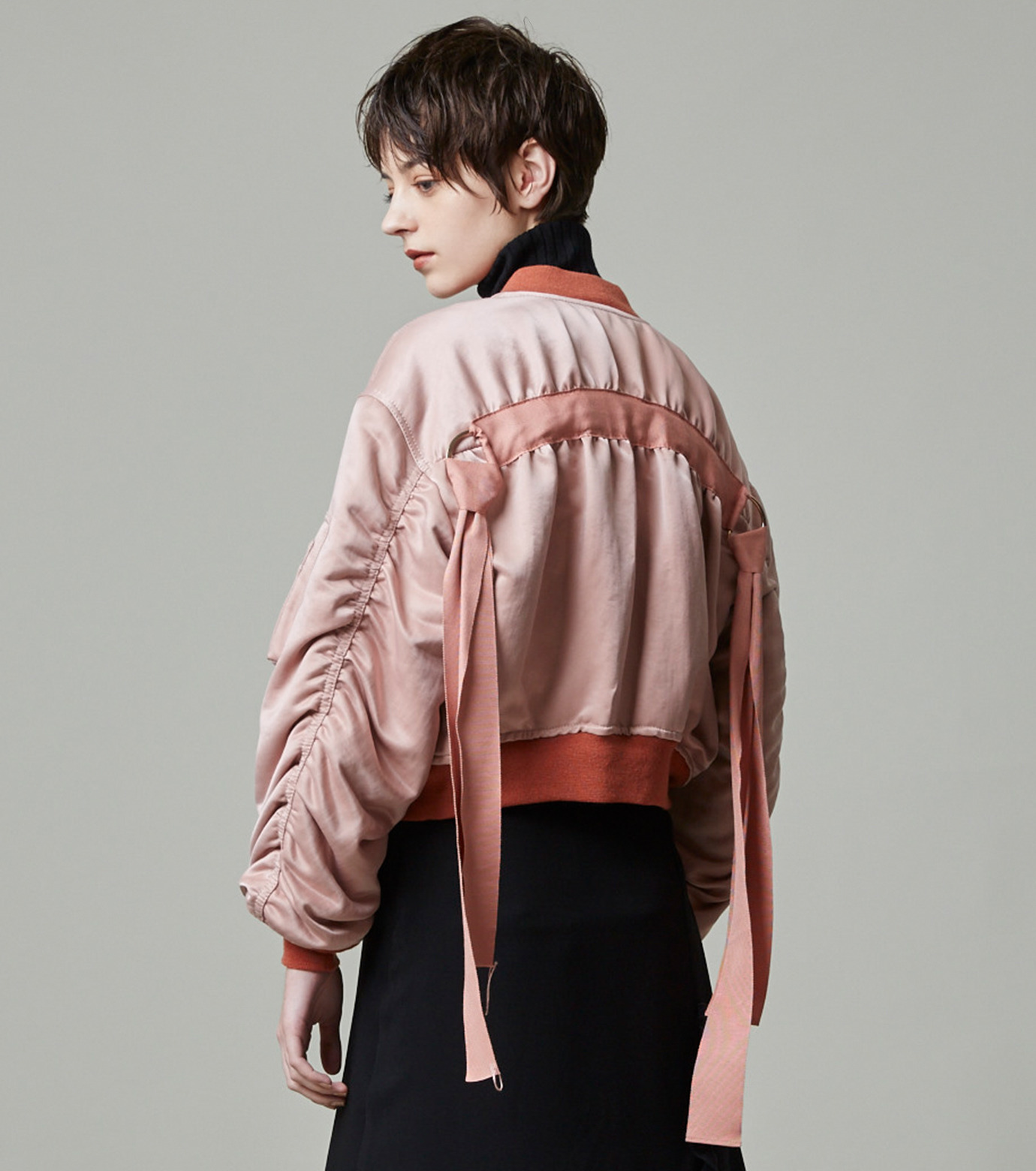 LE CIEL BLEU(ルシェルブルー)のリボンシェイクスMA-1-PINK(ジャケット/jacket)-18A64509 拡大詳細画像6