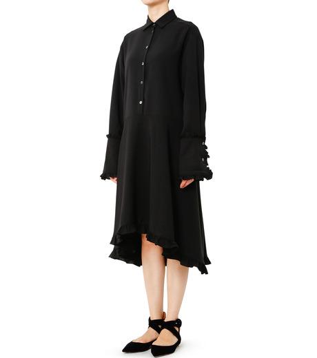 LE CIEL BLEU(ルシェルブルー)のアシンメトリーフリルシャツドレス-BLACK(ワンピース/one piece)-18A65617 詳細画像1