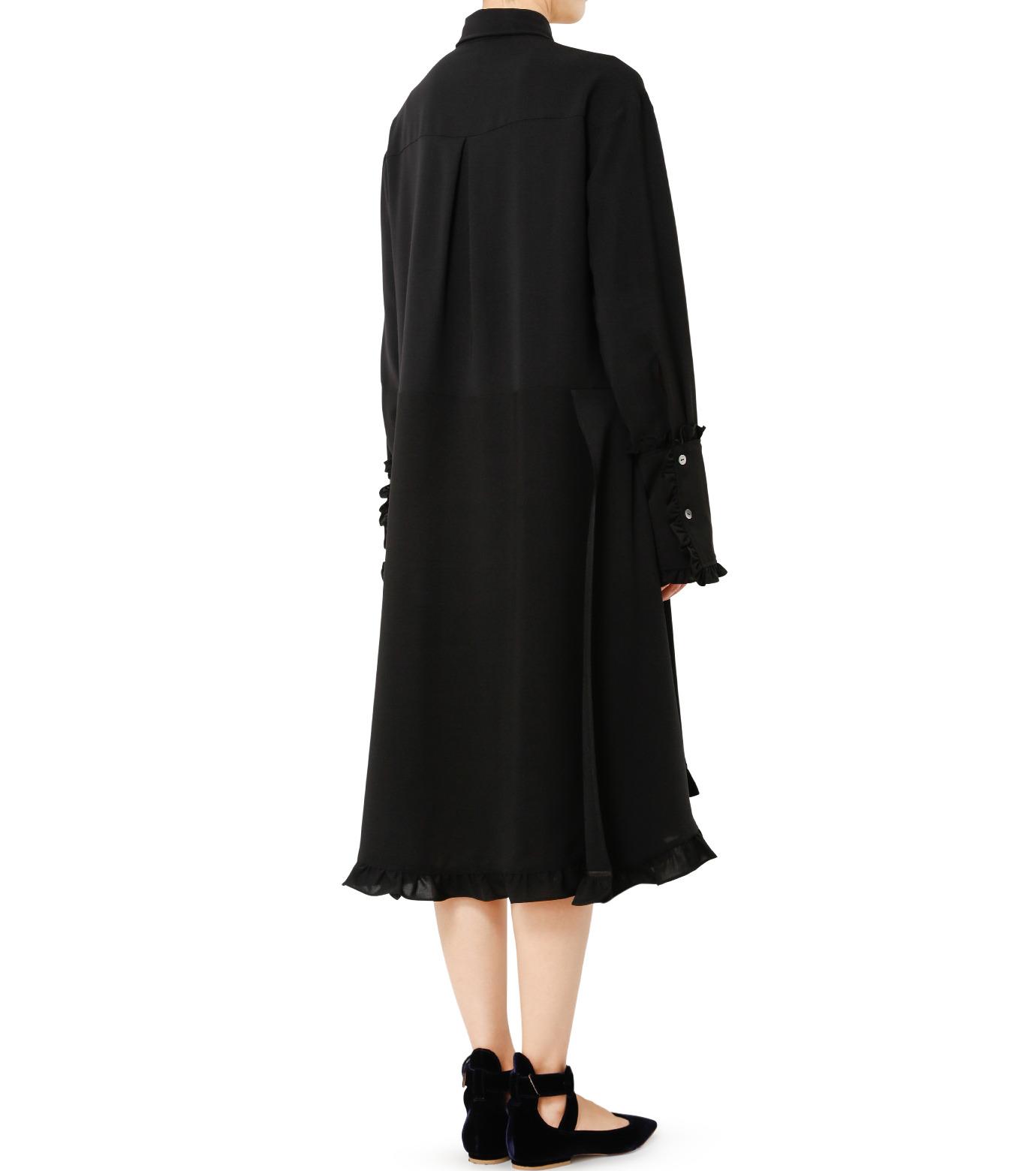 LE CIEL BLEU(ルシェルブルー)のアシンメトリーフリルシャツドレス-BLACK(ワンピース/one piece)-18A65617 拡大詳細画像2
