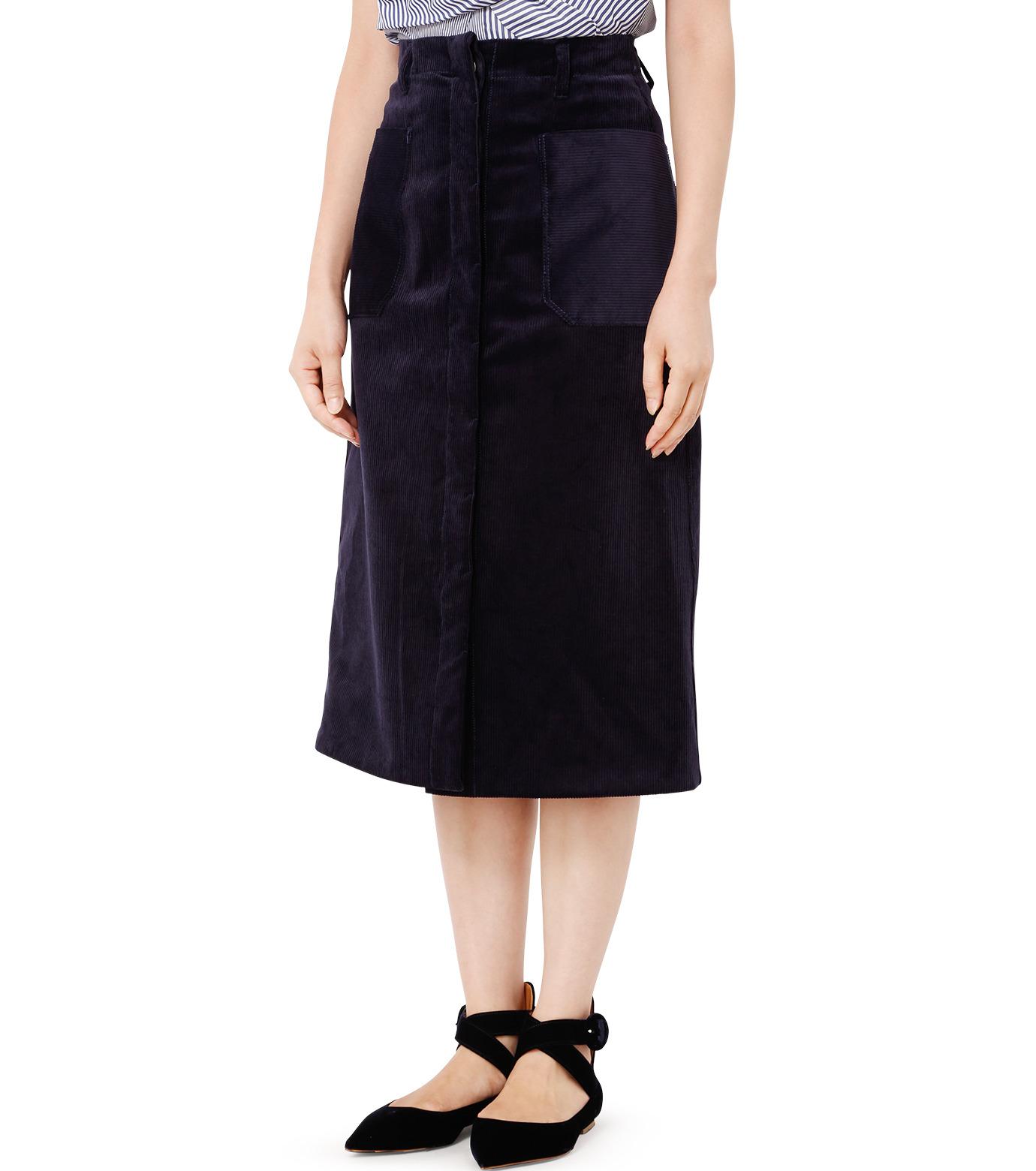 LE CIEL BLEU(ルシェルブルー)のコーデュロイロングスカート-NAVY(スカート/skirt)-18A67311 拡大詳細画像1