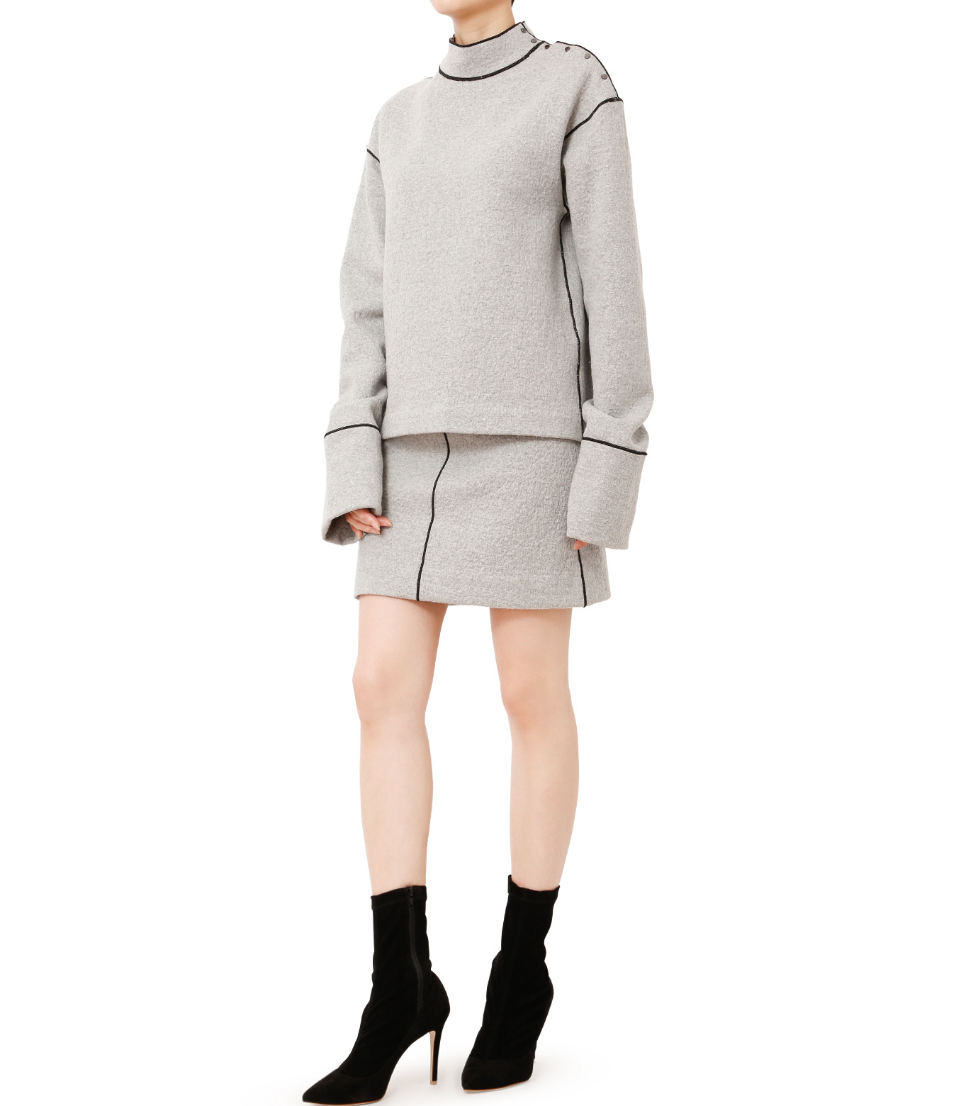 LE CIEL BLEU(ルシェルブルー)のウールフリースパイルミディスカート-GRAY(スカート/skirt)-18A67312 拡大詳細画像3