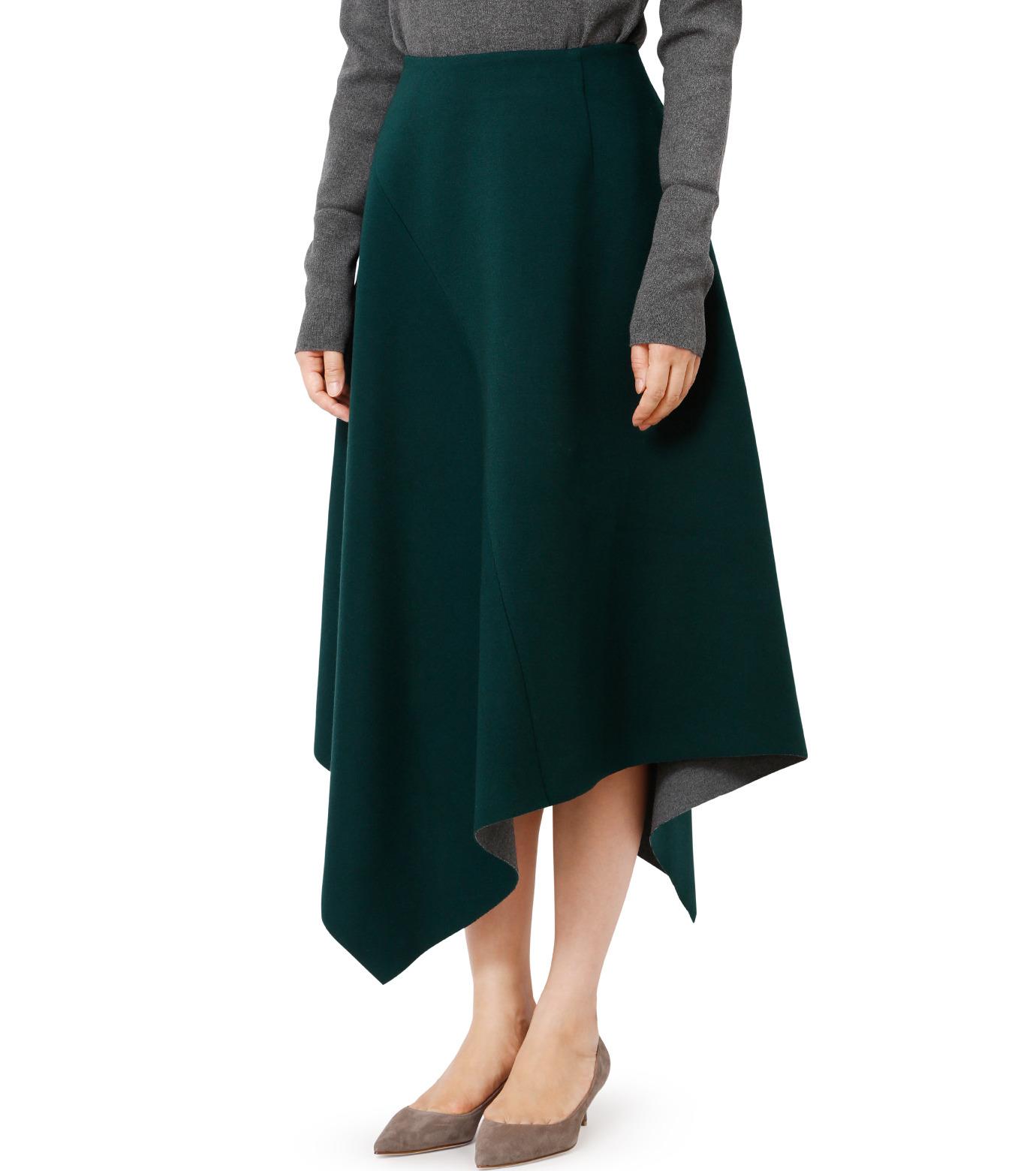 LE CIEL BLEU(ルシェルブルー)のアシンメトリーヘムスカート-GREEN(スカート/skirt)-18A67421 拡大詳細画像1