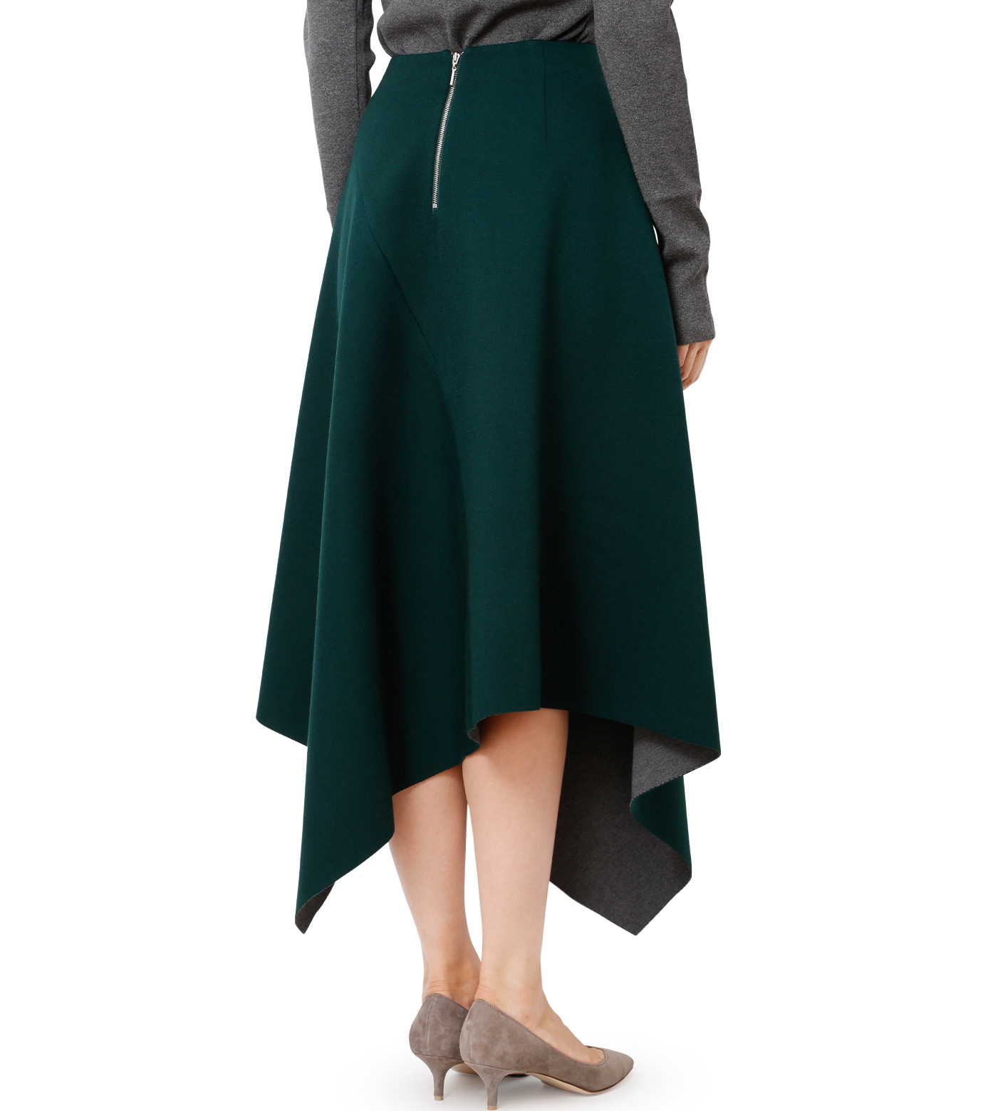 LE CIEL BLEU(ルシェルブルー)のアシンメトリーヘムスカート-GREEN(スカート/skirt)-18A67421 拡大詳細画像2