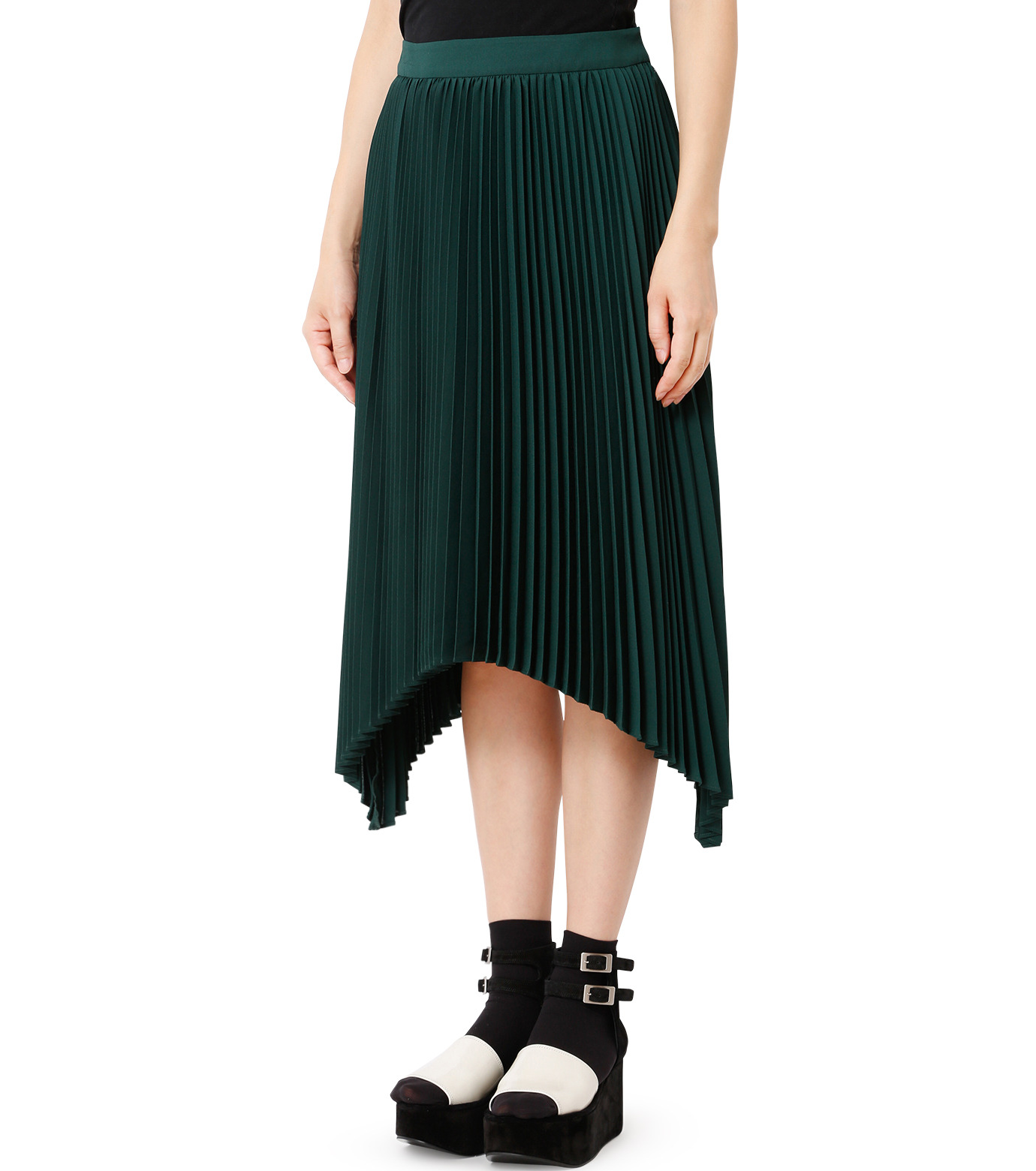 LE CIEL BLEU(ルシェルブルー)のハンカチーフヘムプリーツスカート-GREEN(スカート/skirt)-18A67423 拡大詳細画像1