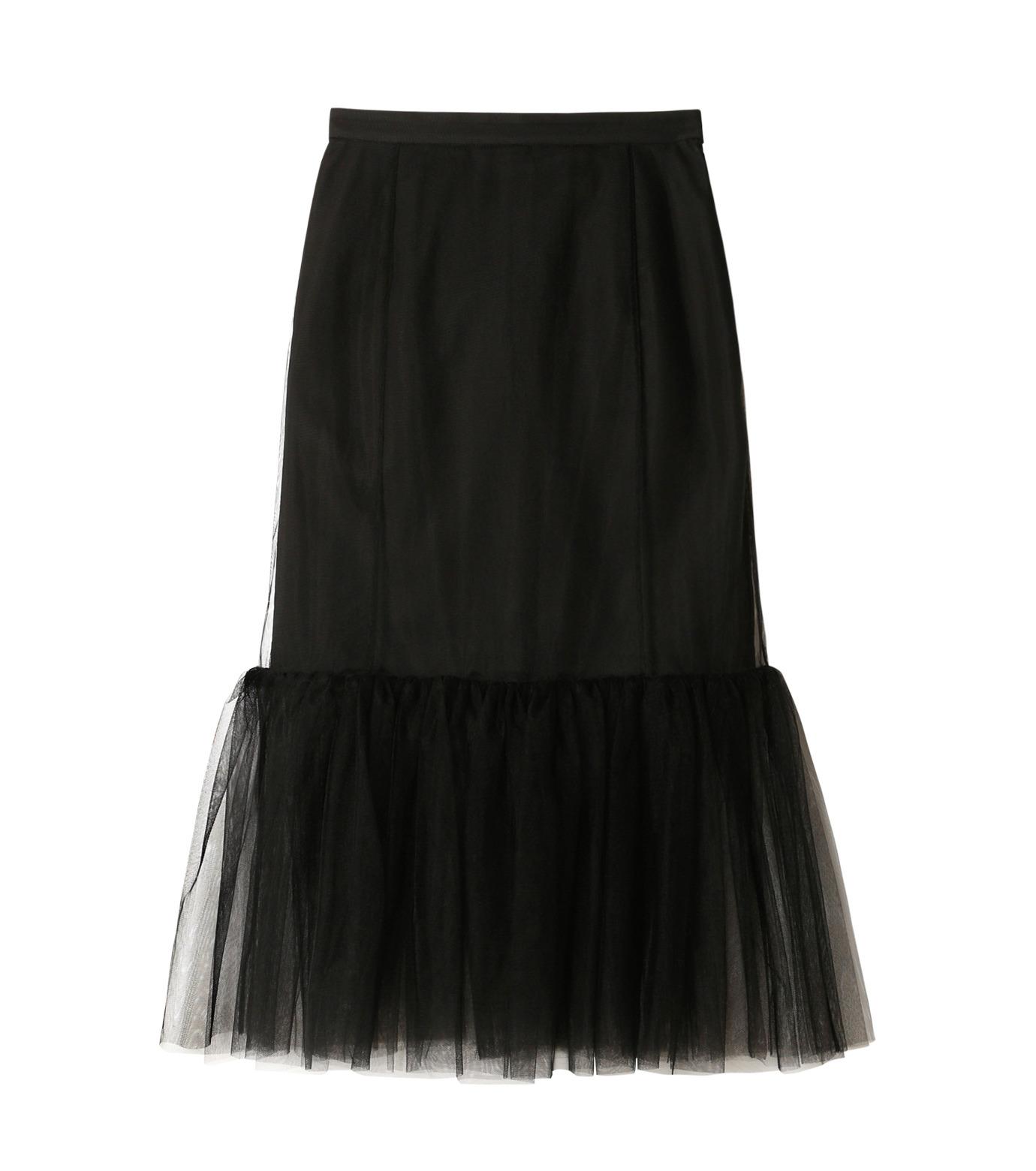 LE CIEL BLEU(ルシェルブルー)のチュールぺプラムスカート-BLACK(スカート/skirt)-18A67631 拡大詳細画像4