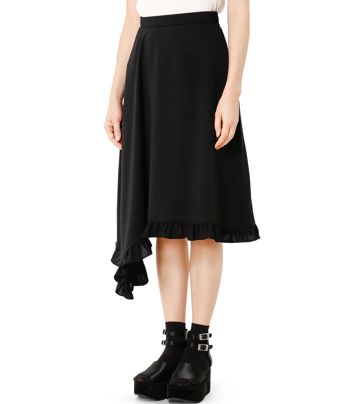 LE CIEL BLEU(ルシェルブルー)のアシンメトリーフリルヘムスカート-BLACK(スカート/skirt)-18A67636 拡大詳細画像1