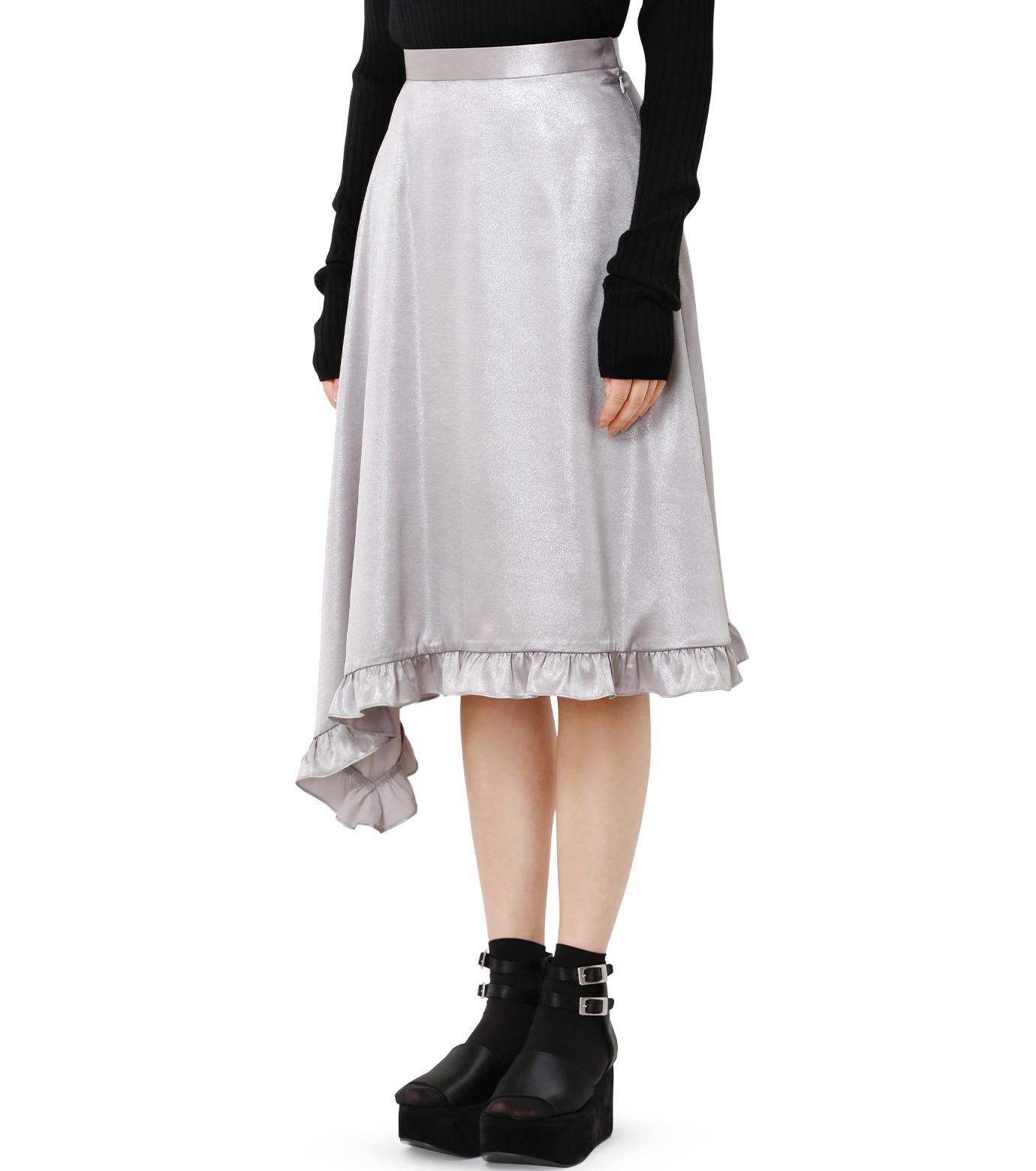 LE CIEL BLEU(ルシェルブルー)のグロッシーフリルヘムスカート-SILVER(スカート/skirt)-18A67637 拡大詳細画像1